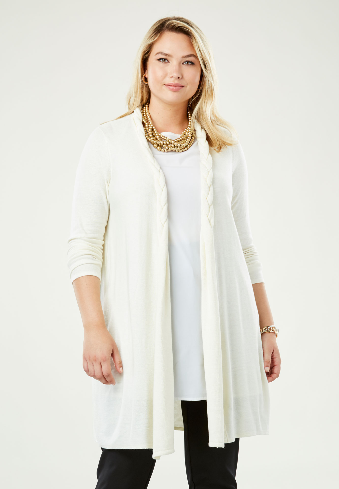 Cotton Cashmere Braided Sweater Duster,