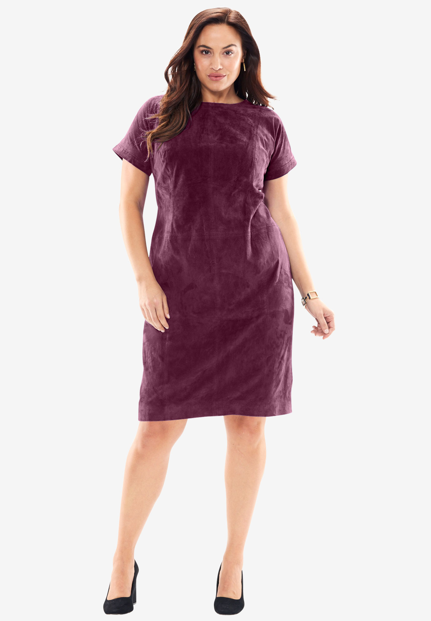 Soft Suede Dress with Crewneck,