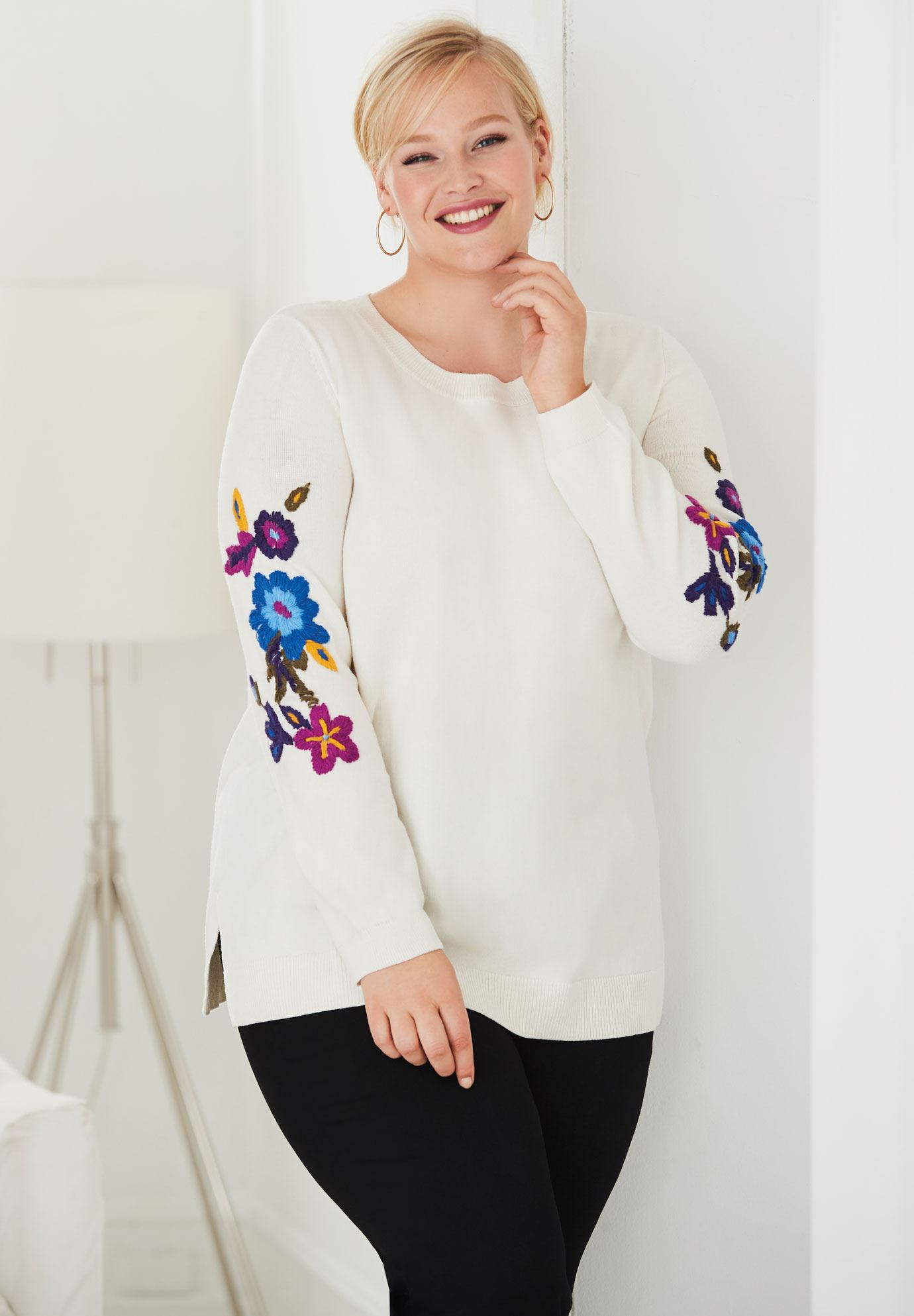 Multi Embroidered Sleeve Sweater,