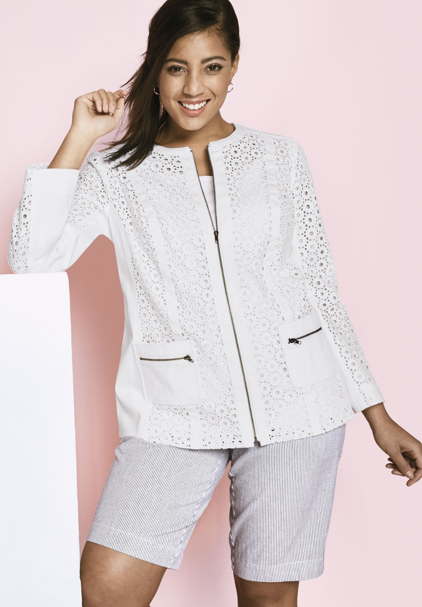 Eyelet Jacket With Denim Trim  70ae1e647