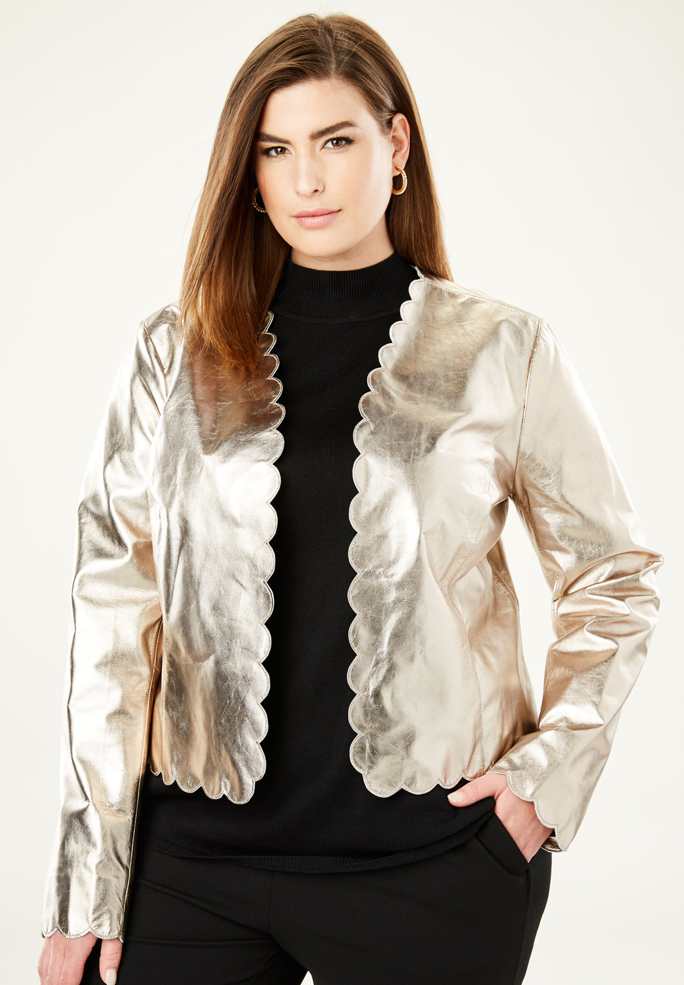 Scalloped Leather Jacket,