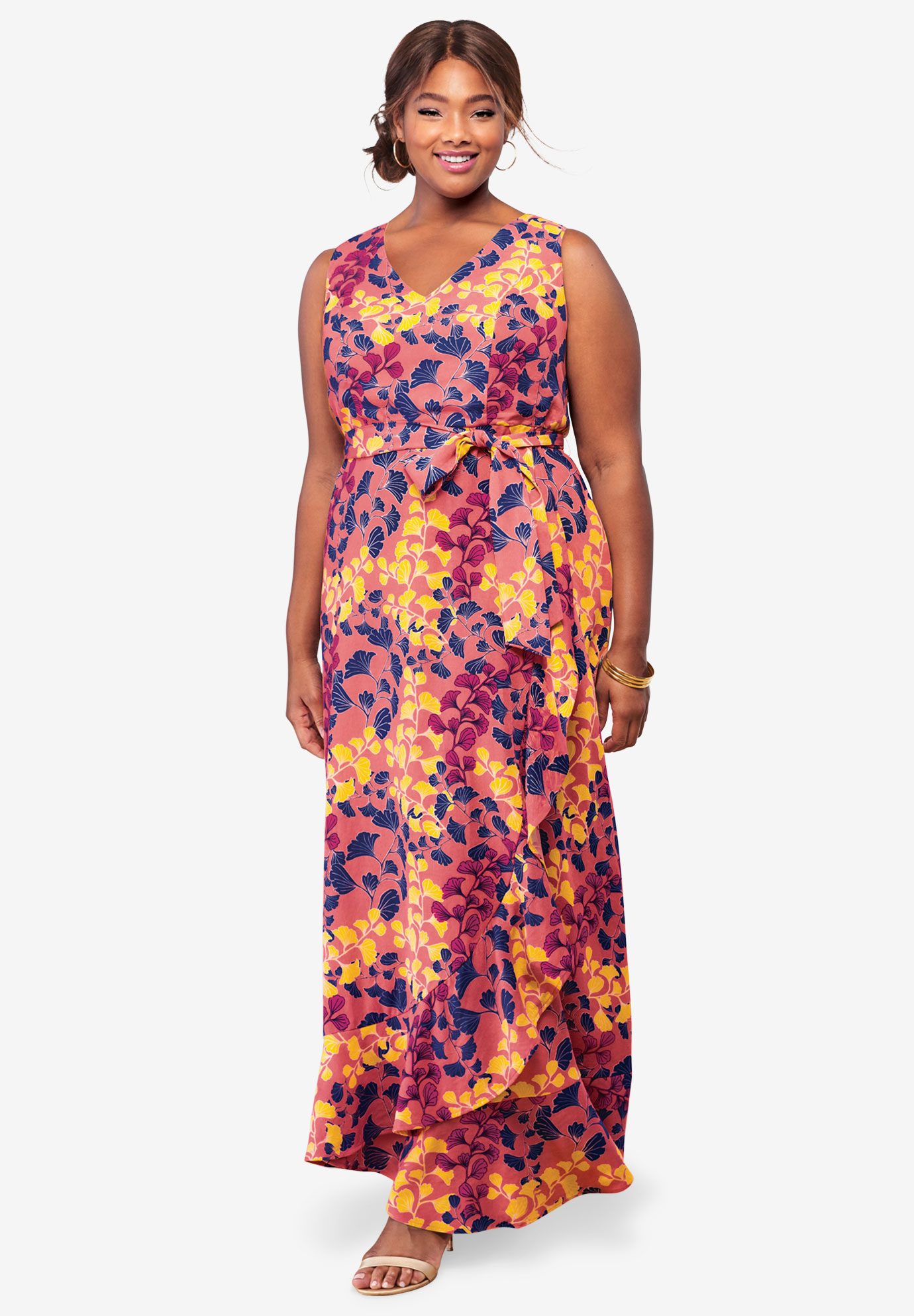 Sleeveless Faux Wrap Tencel® Maxi Dress,
