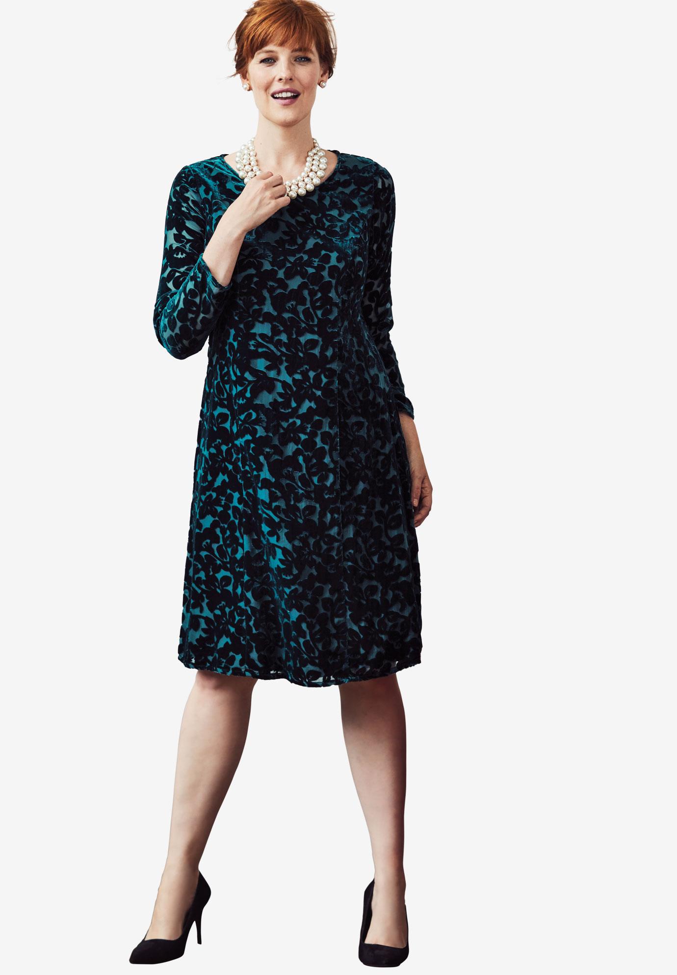 95165a4f419 Burnout Velvet Fit-And-Flare Dress