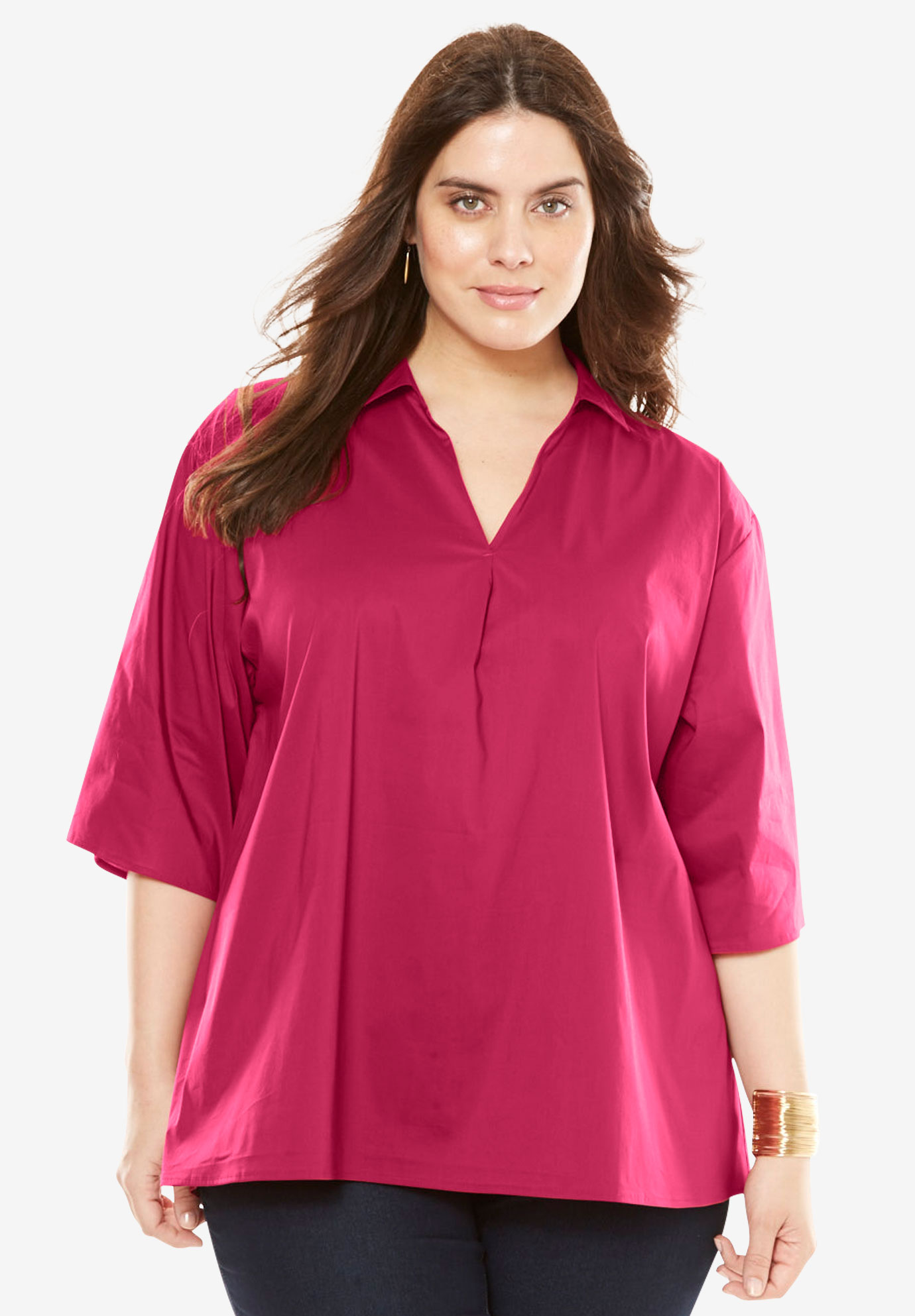 A-Line Poplin Shirt with Elbow Length Sleeves,