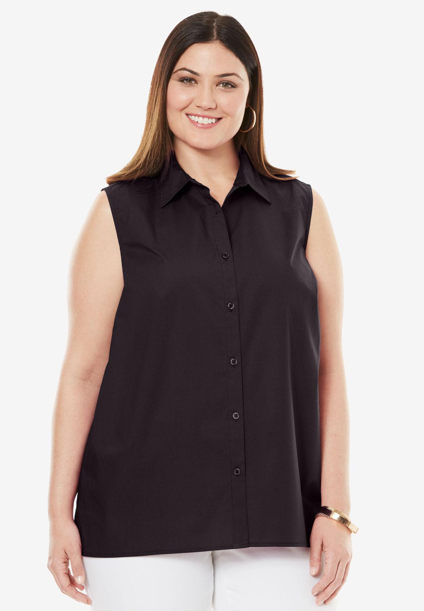 a8d5abc9 Sleeveless Poplin Blouse | Plus Size Shirts & Blouses | Full Beauty