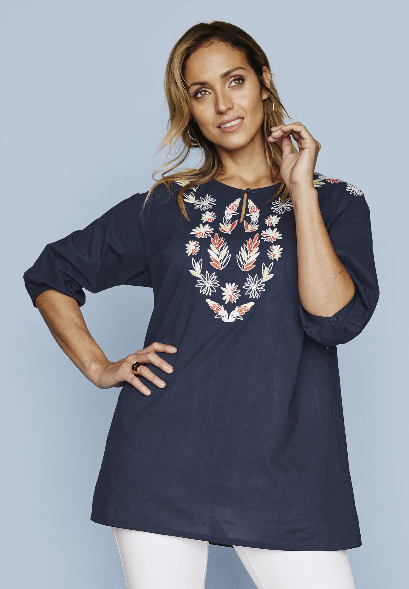 Embroidered Cotton Blouse, NAVY EMBROIDERY