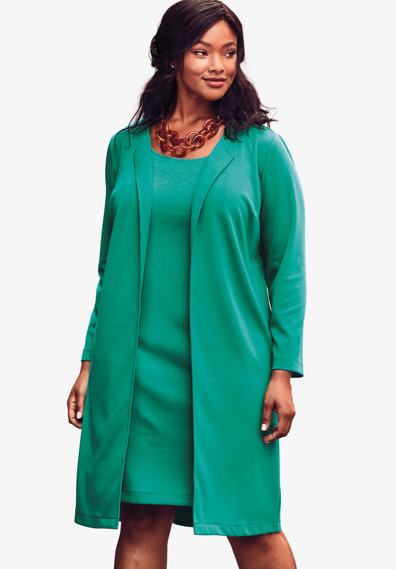 2-Piece Ponté Knit Jacket Dress| Plus Size Sets | Full Beauty