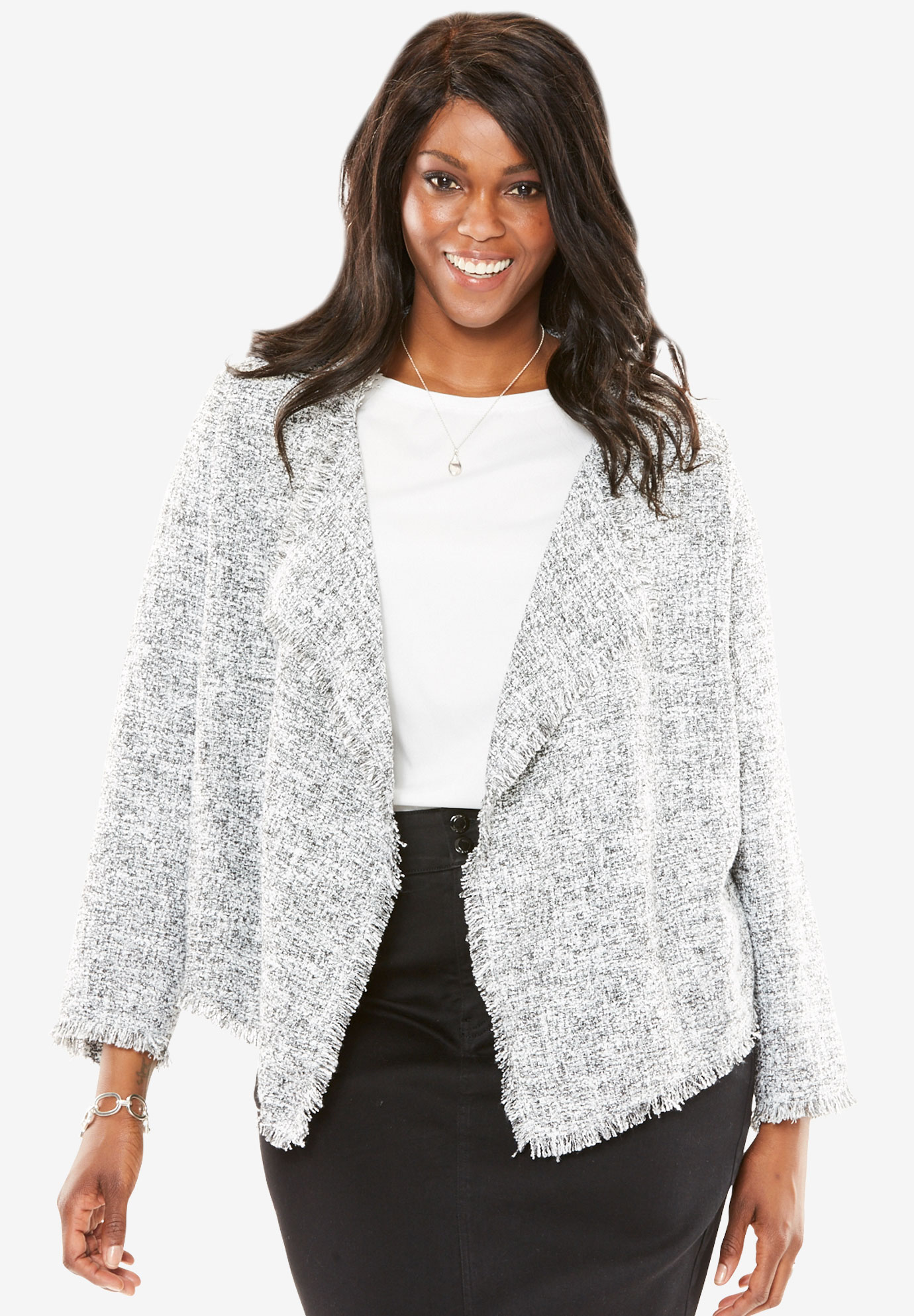 Open Front Draped Tweed Jacket,