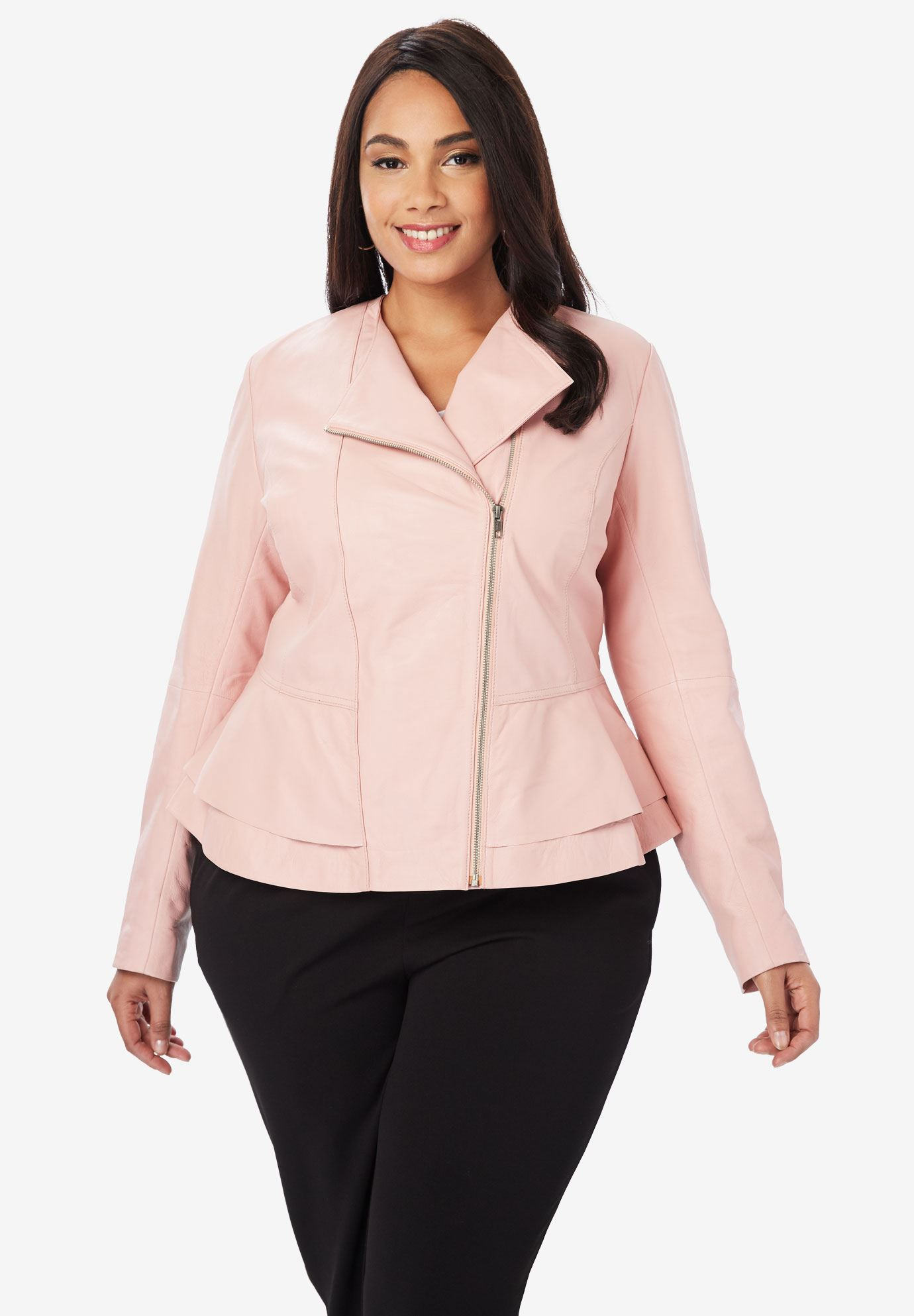collarless leather peplum jacket plus size jackets