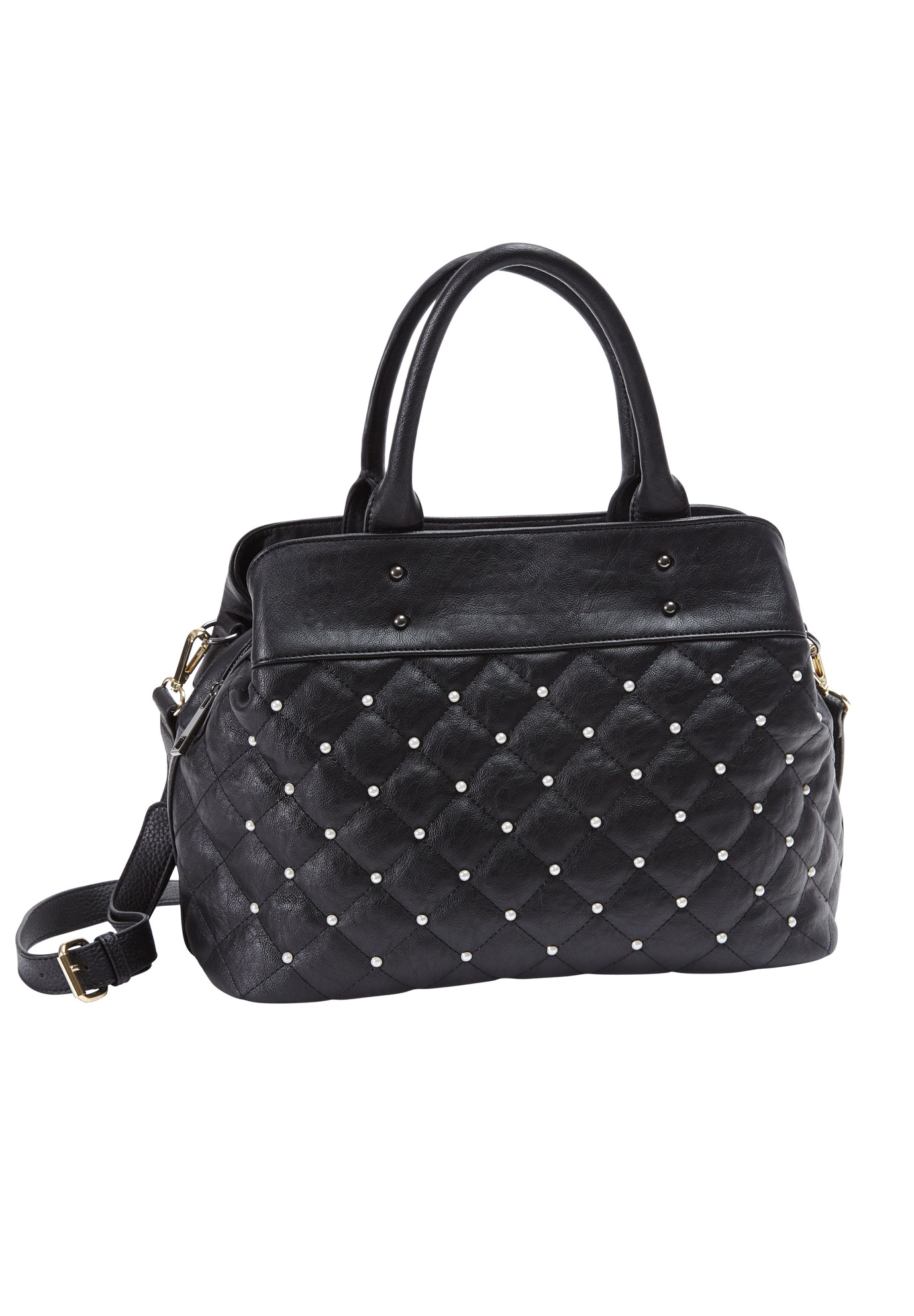 Pearl Quilted Bag, BLACK