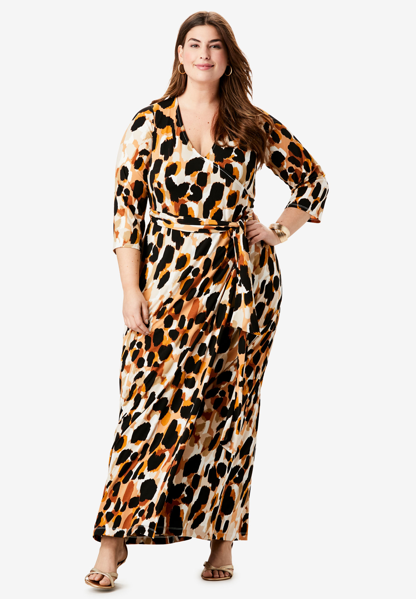 Faux Wrap Maxi Dress,