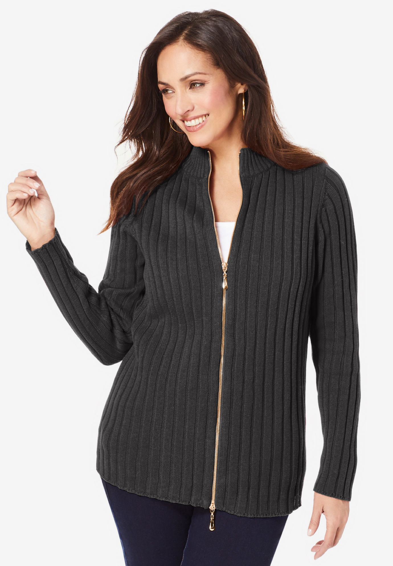 Ribbed Zipper Cardigan,