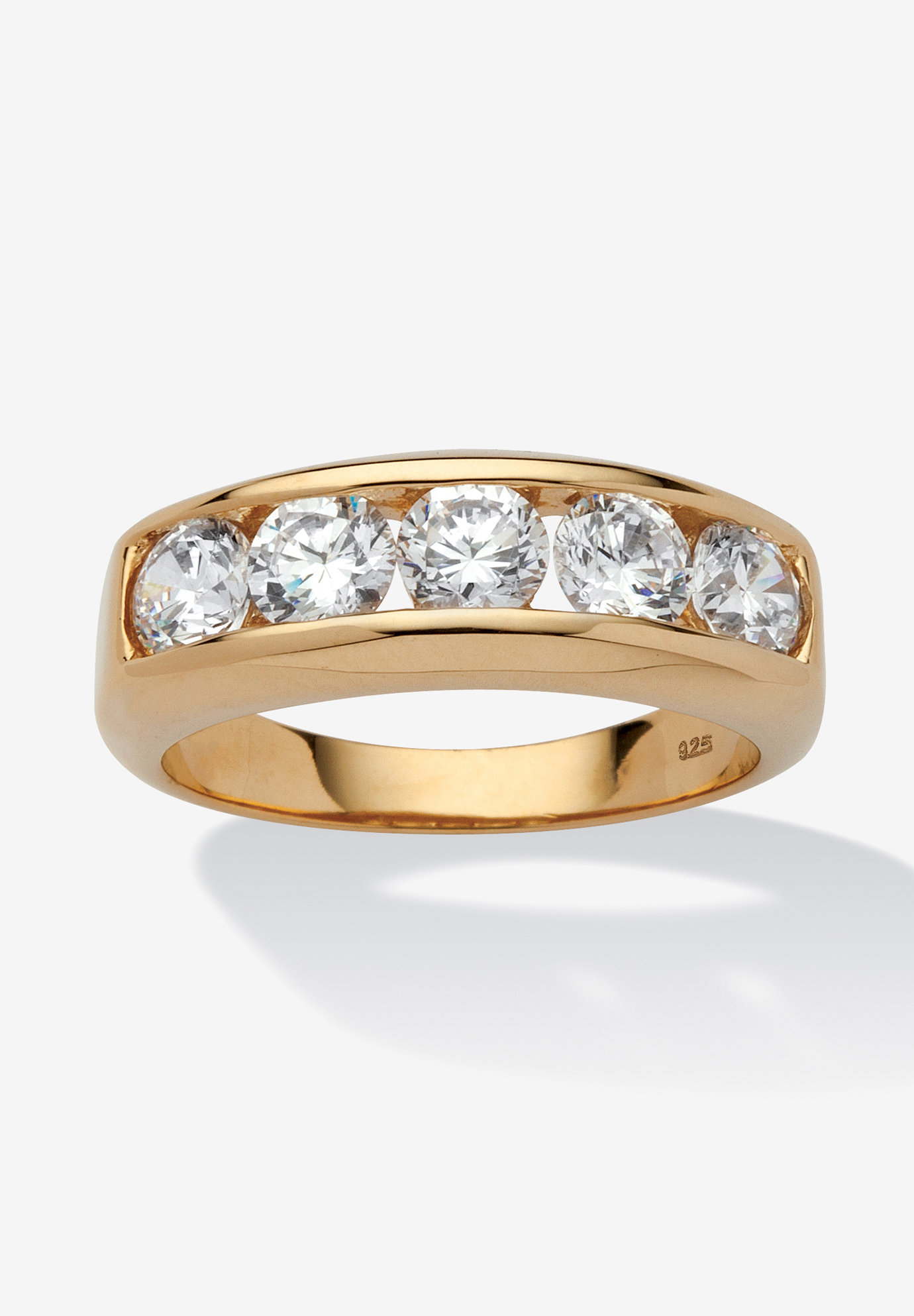 18K Yellow Gold over Sterling Silver Cubic Zirconia Wedding Band,