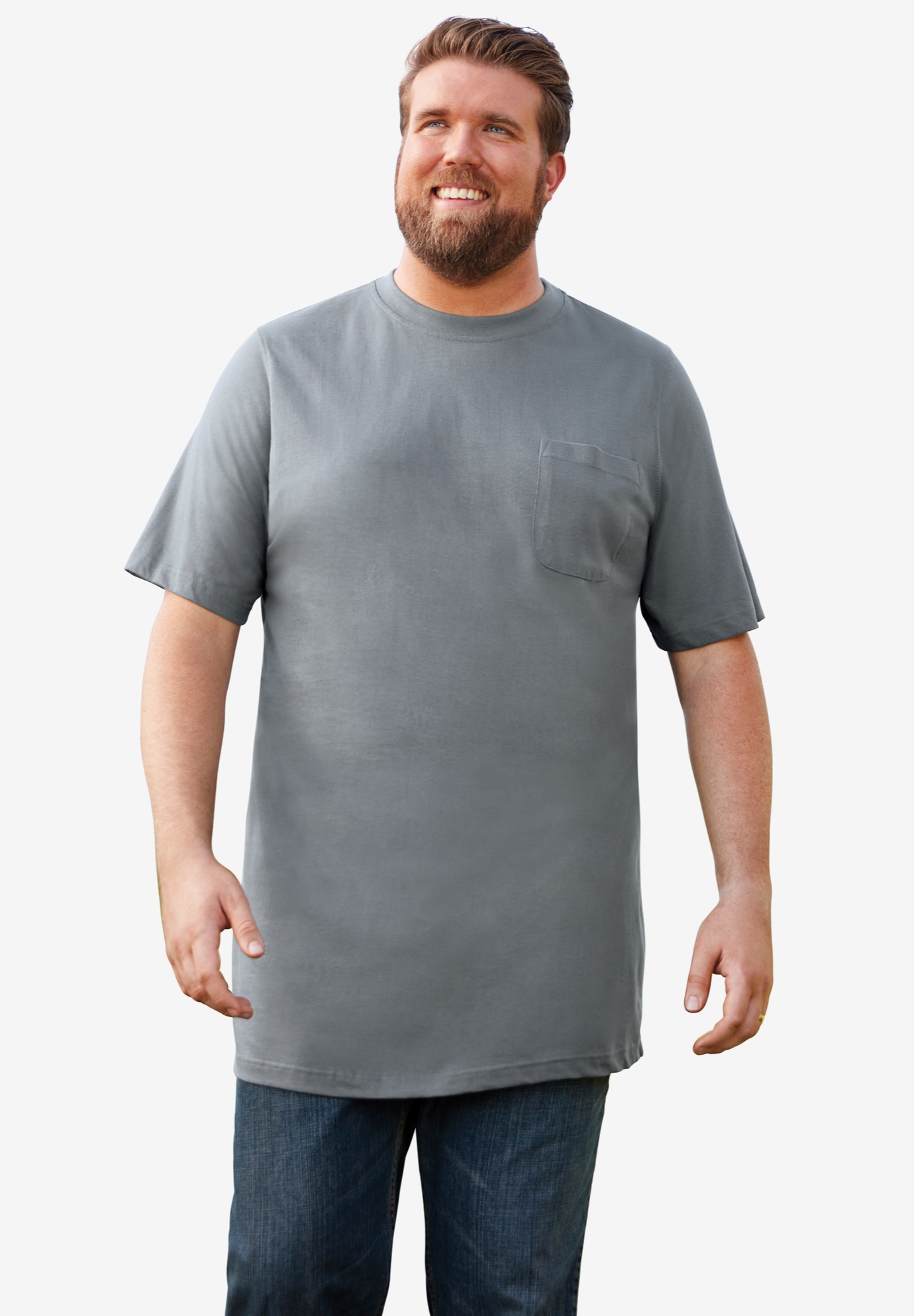 Boulder Creek® Longer-Length Pocket Crewneck T-Shirt,