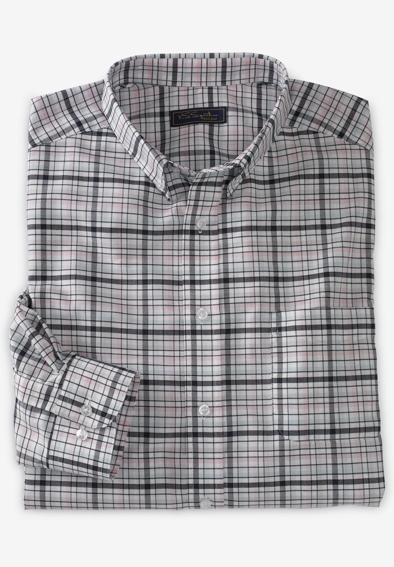 KS Signature by Kingsize Mens Big /& Tall No Hassle Short-Sleeve Dress Shirt 18 White Big
