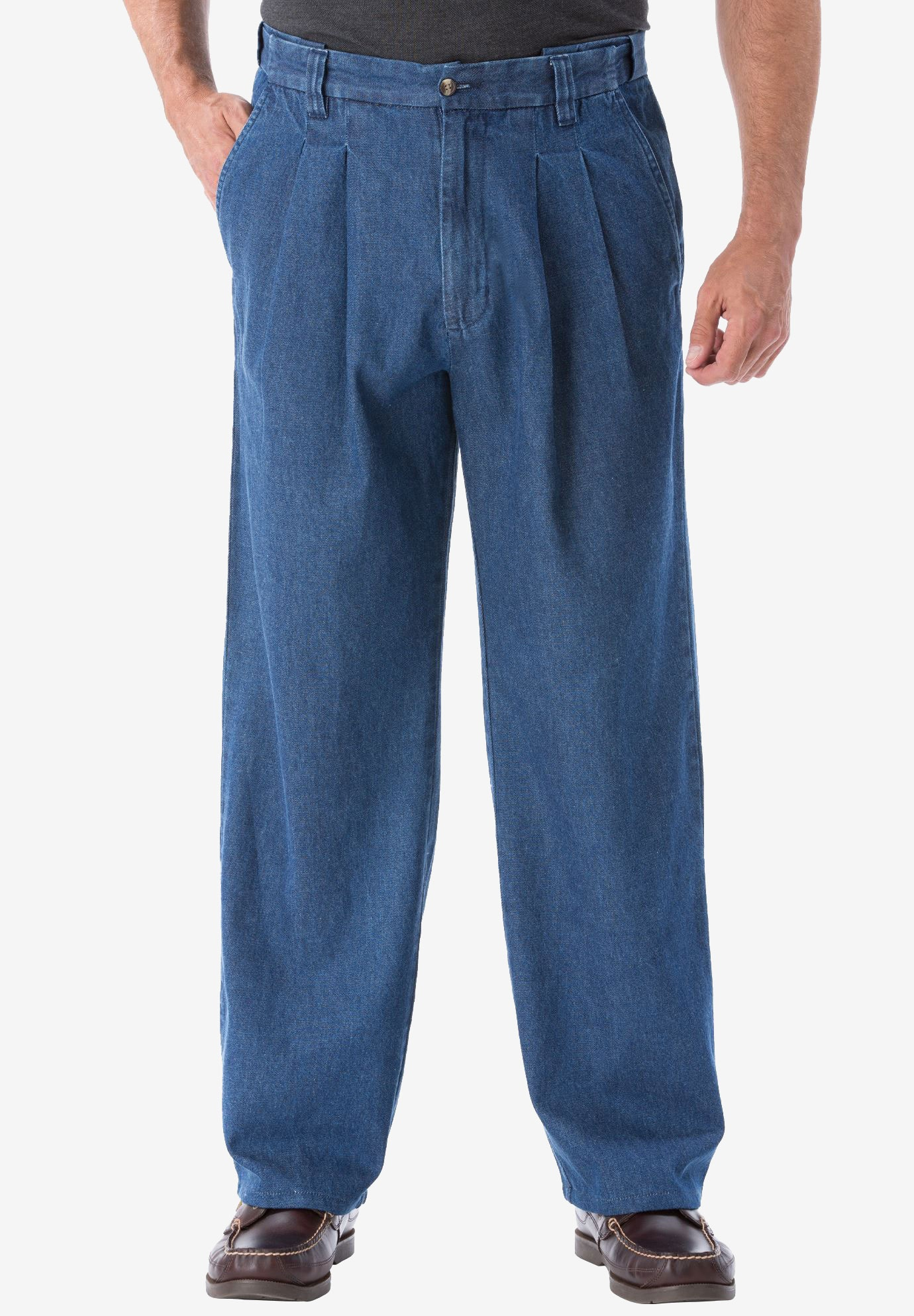 b27216b4b74 Relaxed Fit Comfort Waist Pleat-Front Expandable Jeans
