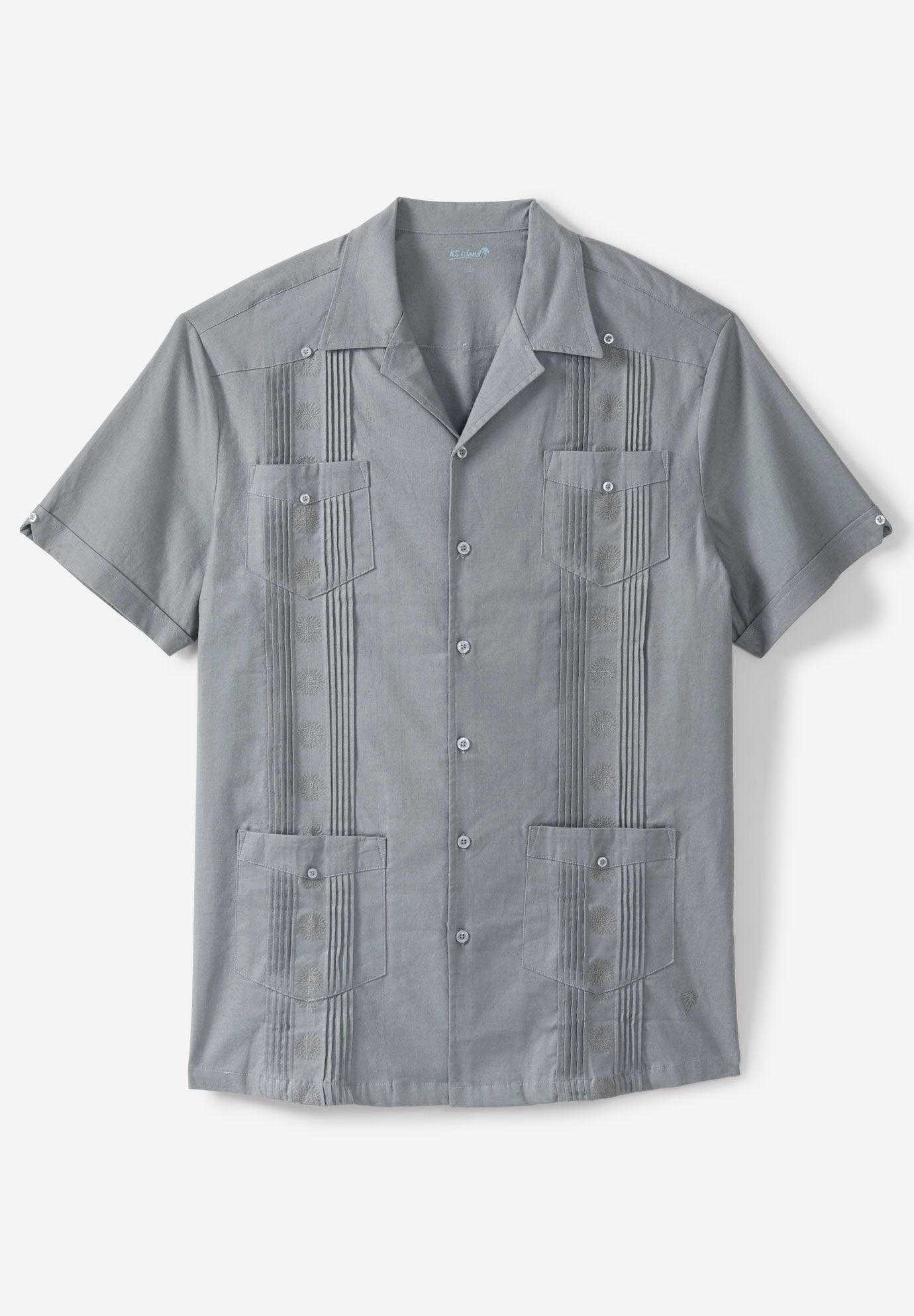Short-Sleeve Linen Guayabera Shirt by KS Island™,