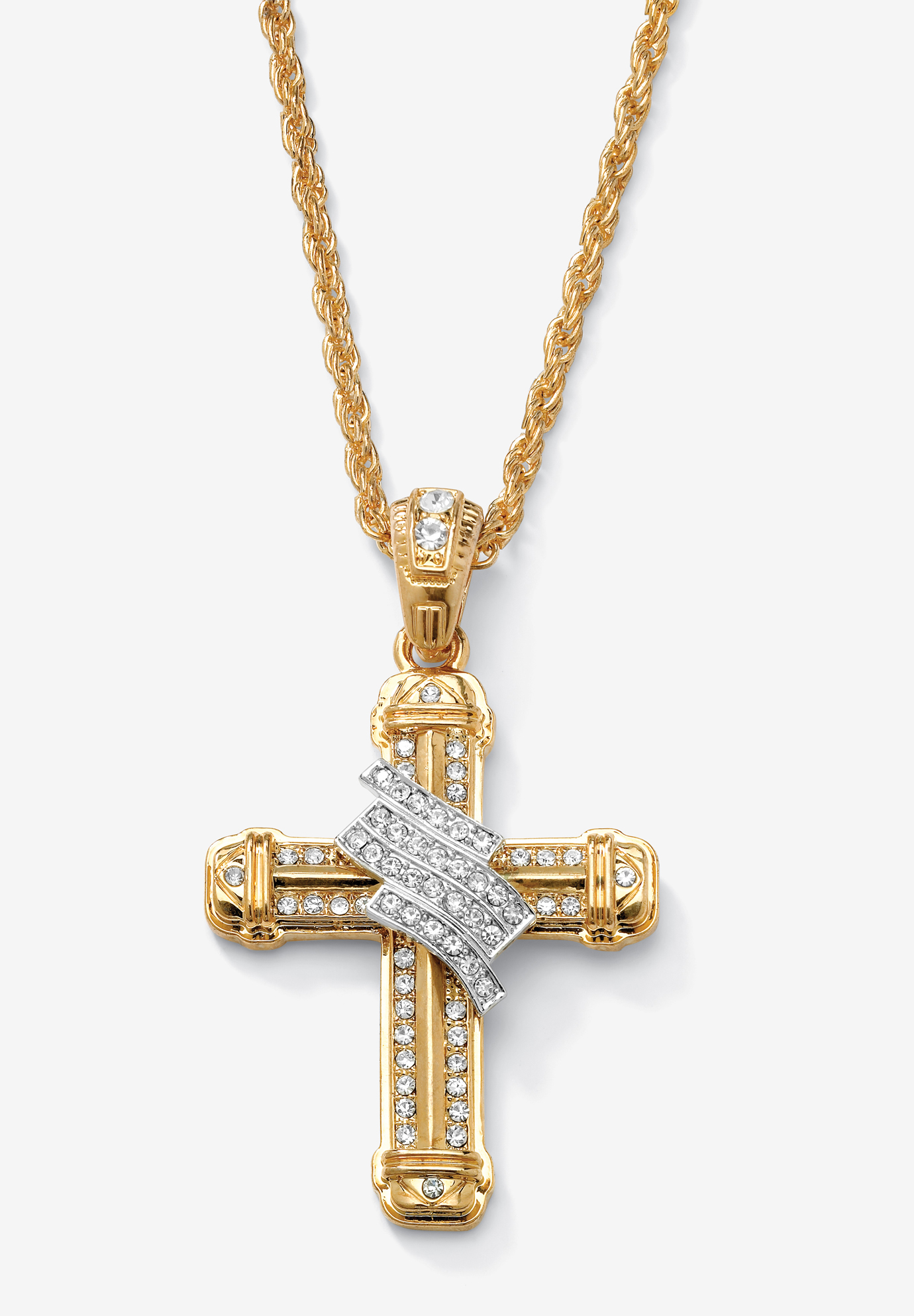 "Gold Tone Wrapped Cross Pendant 24"" Chain, GOLD"