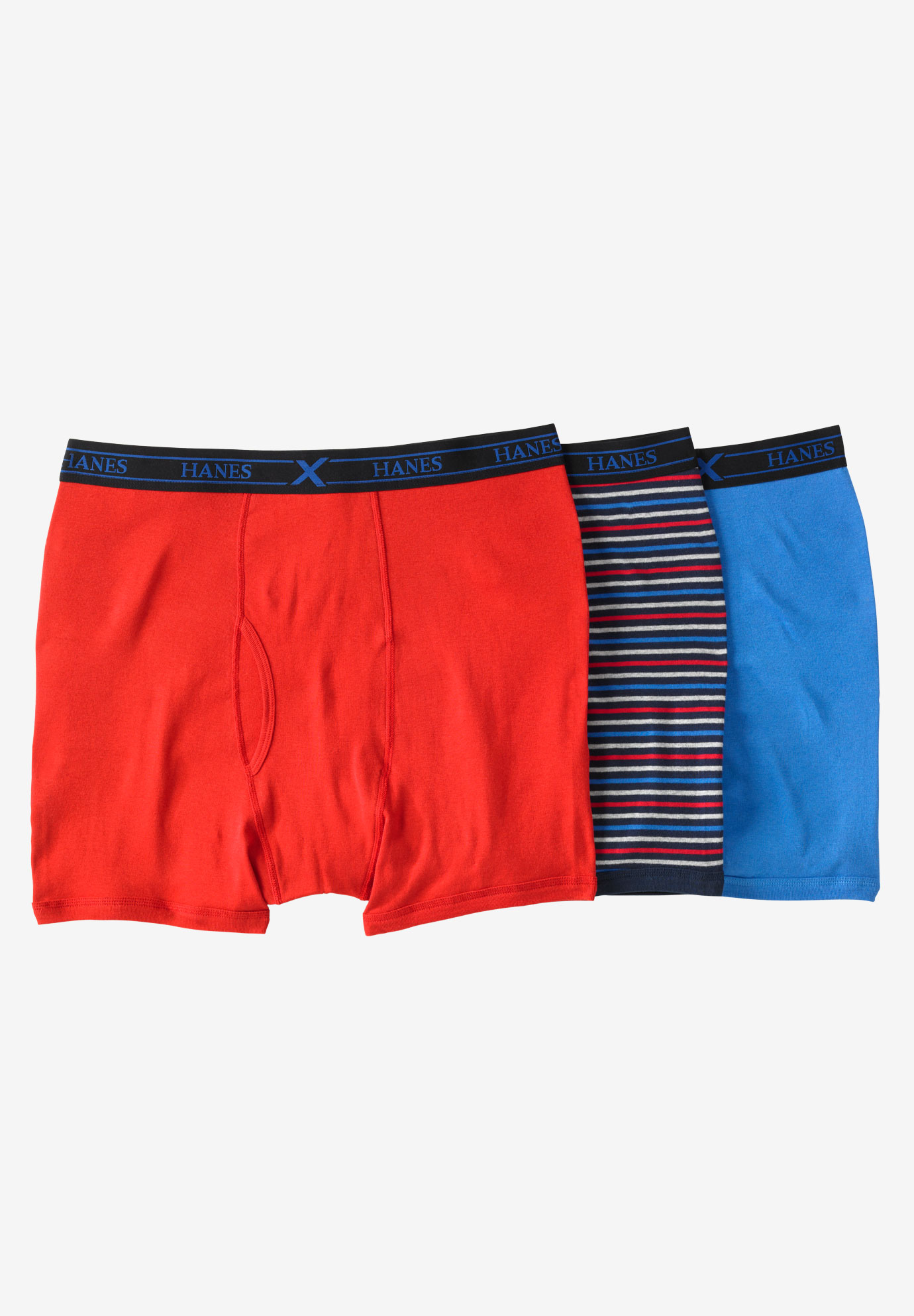 FreshIQ® X-Temp® Comfort Cool ® Boxer Briefs 3-Pack by Hanes®, BLUE RED MULTI
