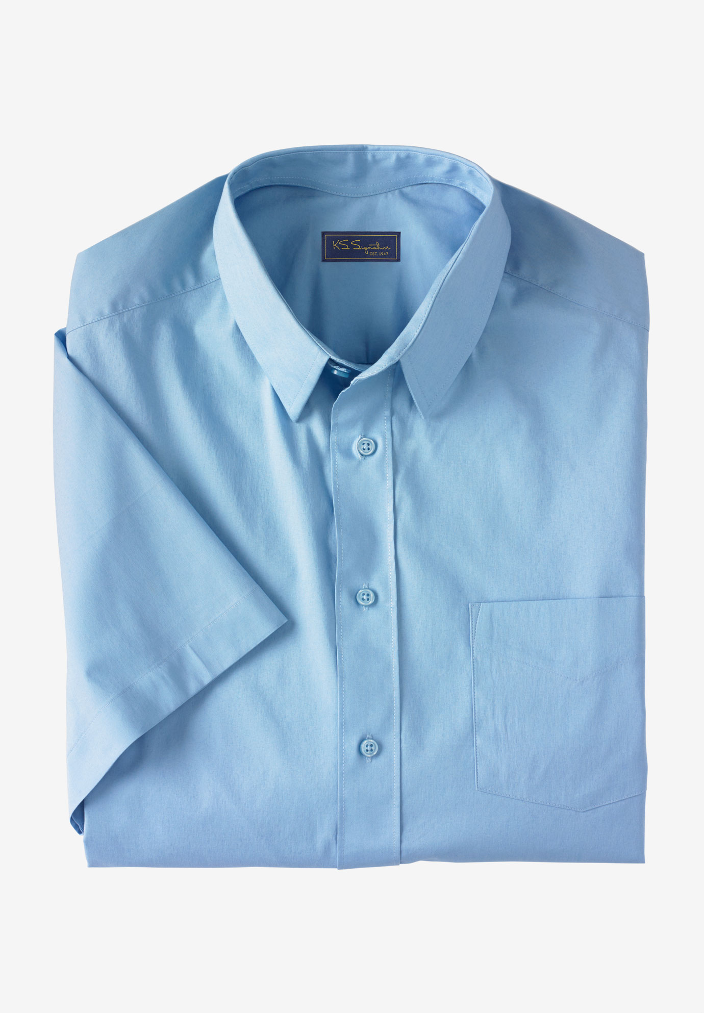 KS Signature Classic Fit Broadcloth Flex Short-Sleeve Dress Shirt,