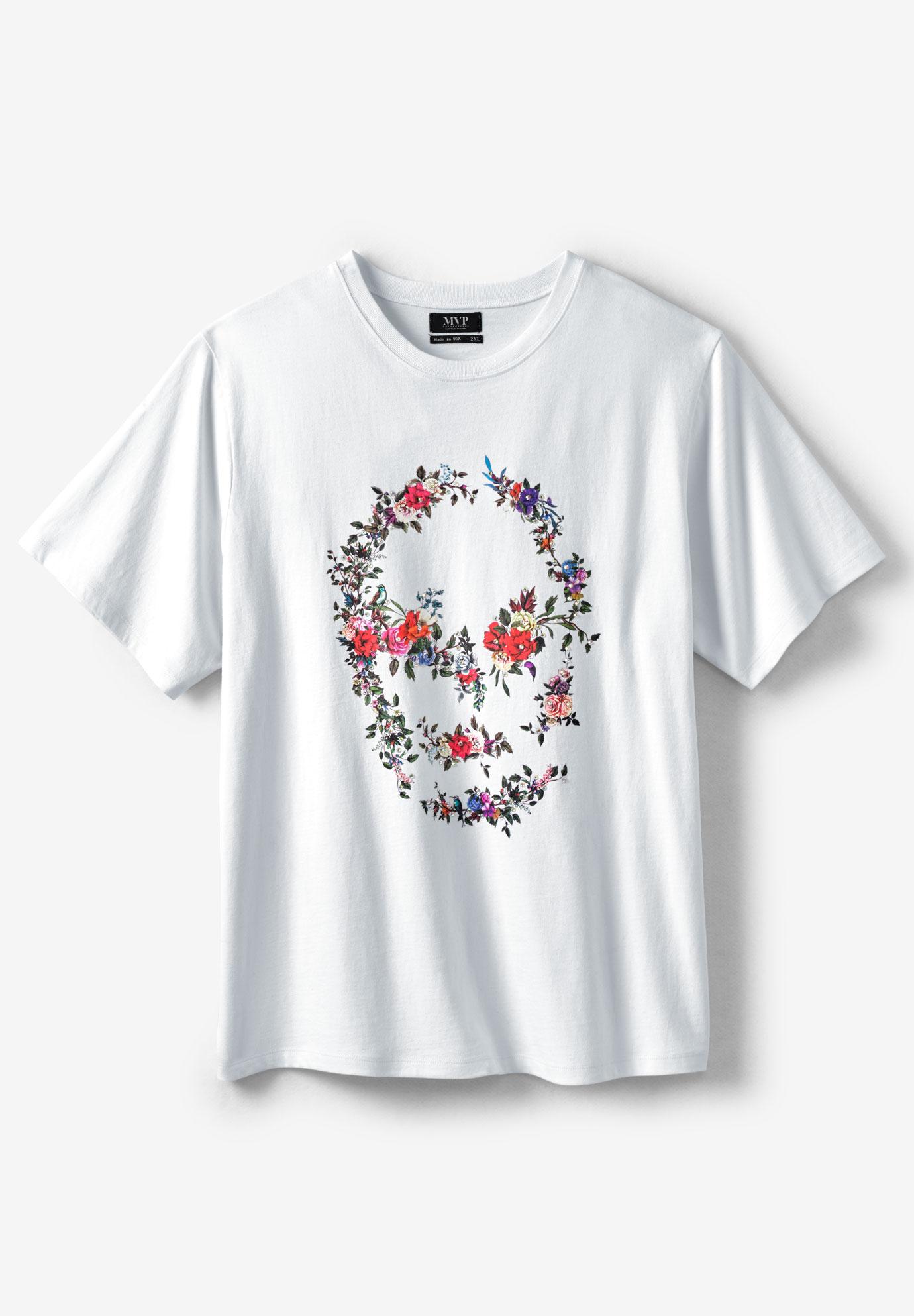 32af7c90377 MVP Collections® Floral Rhinestone Embellished Skull-Print Tee| Big ...