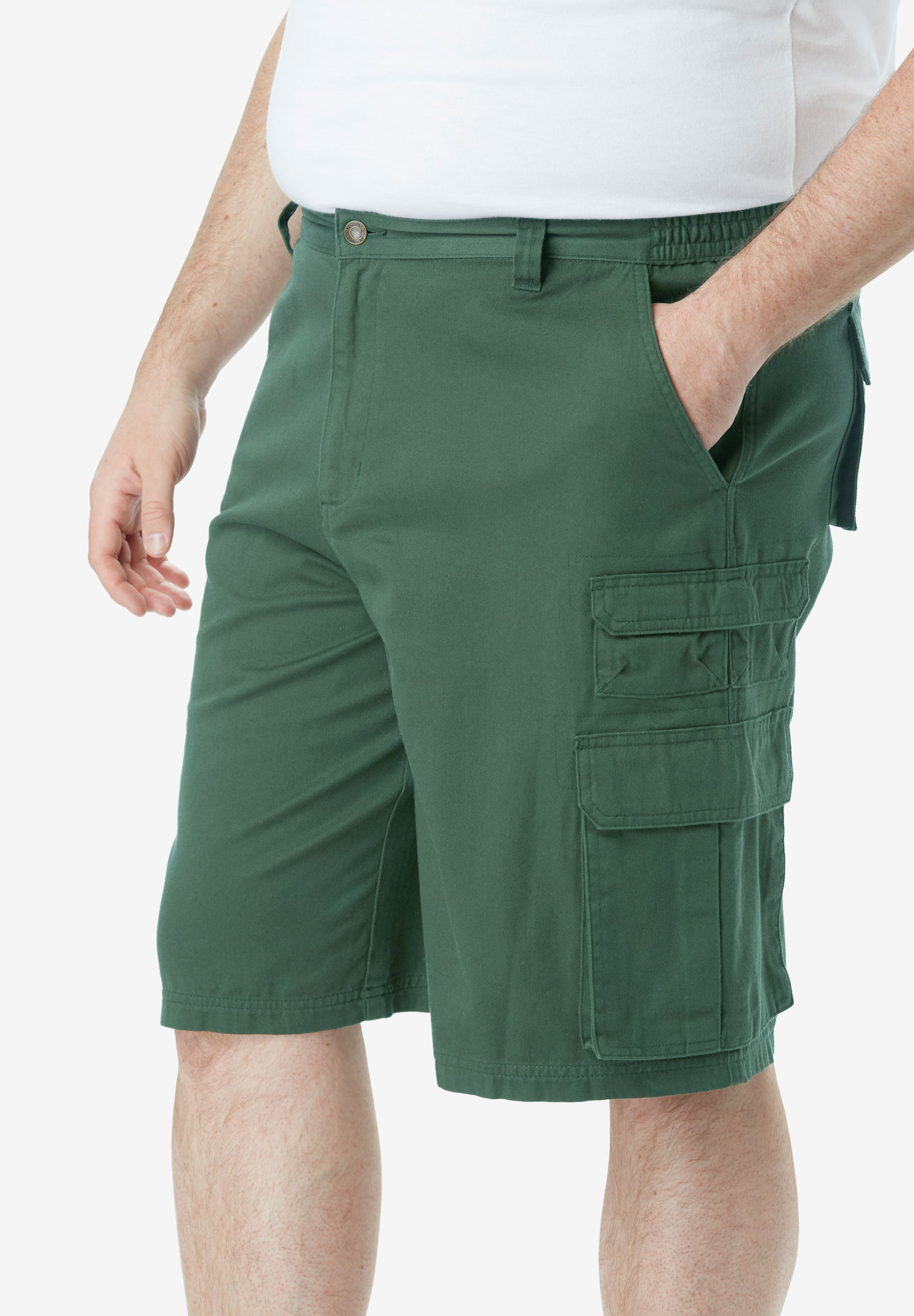 "Boulder Creek® 12"" Side-Elastic Stacked Cargo Pocket Shorts,"