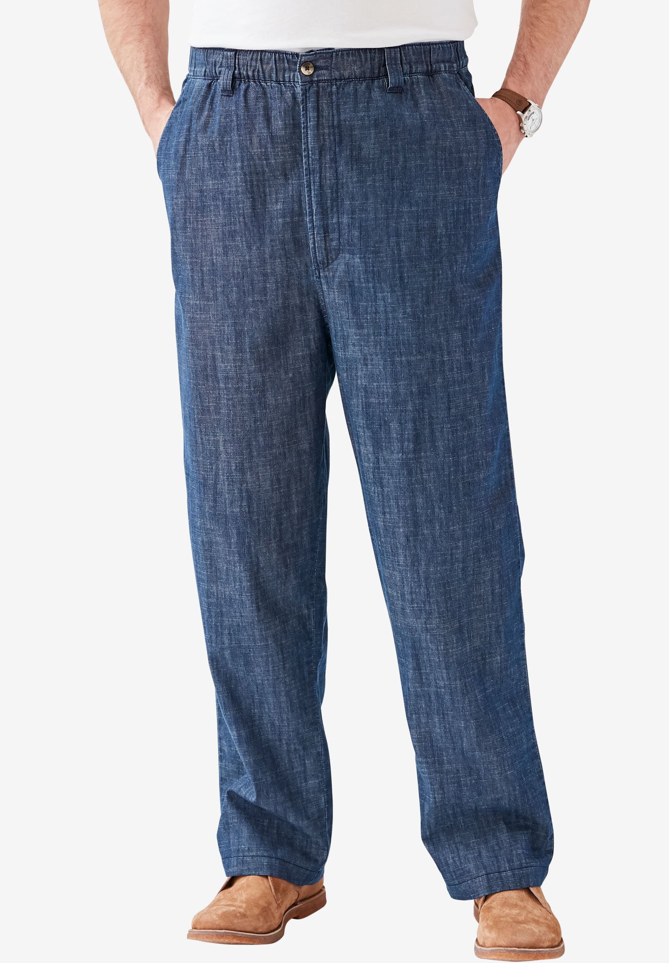 Elastic Waist Pants in Twill or Denim,