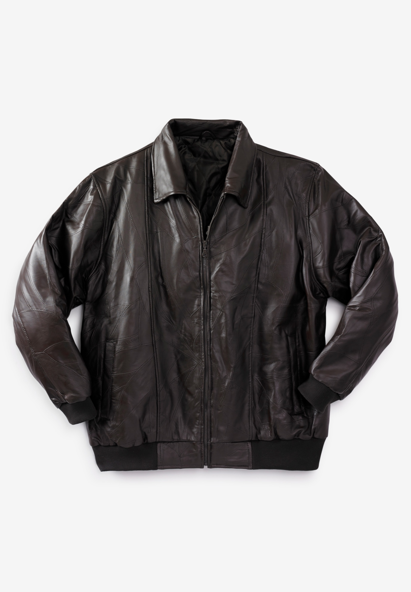 Embossed Leather Bomber Jacket,