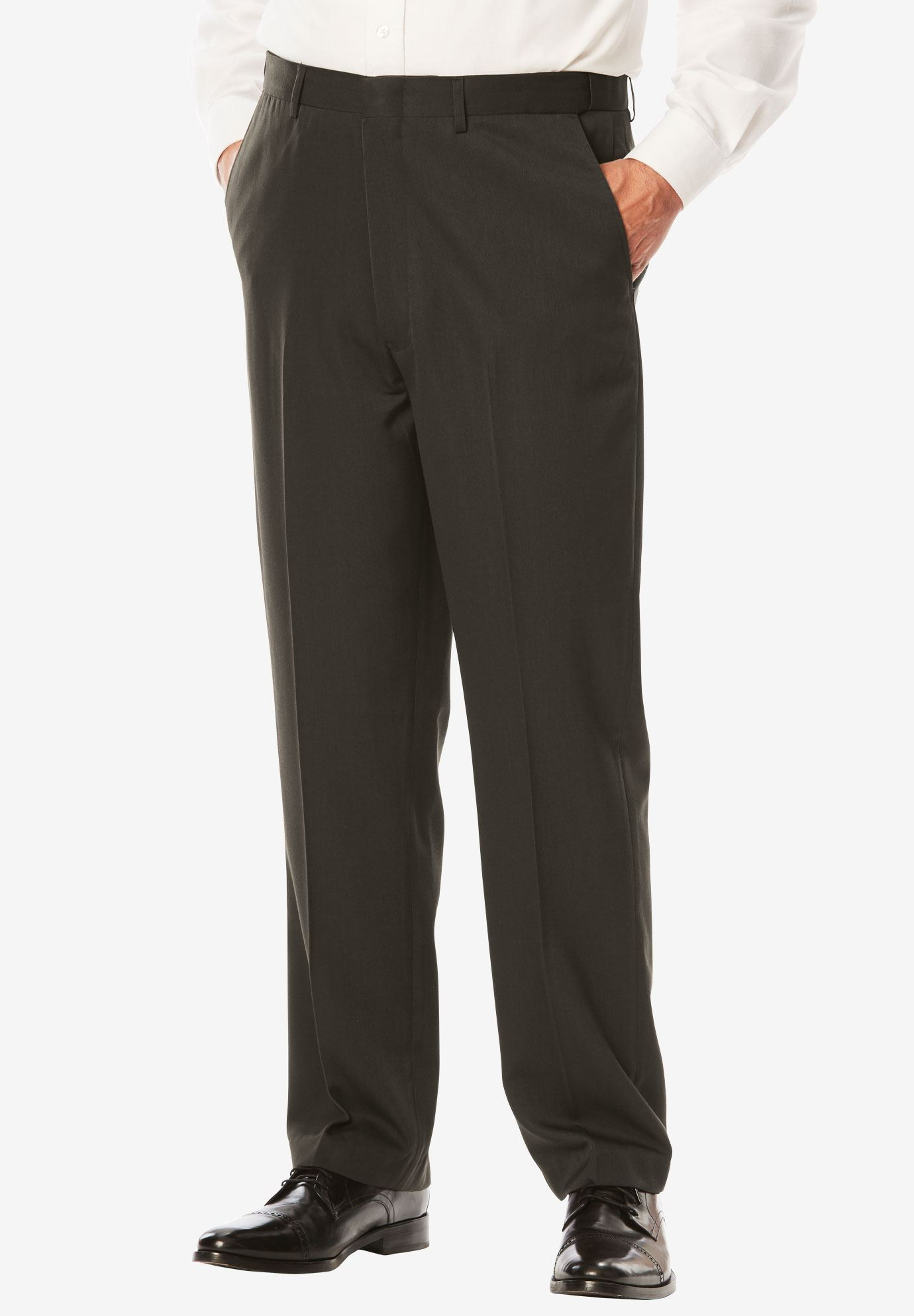 No Hassle® Modern Fit Expandable Waist Plain Front Dress Pants,