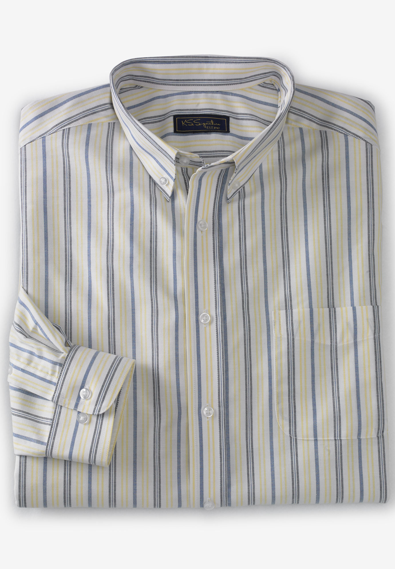 Wrinkle-Resistant Oxford Dress Shirt by KS Signature,