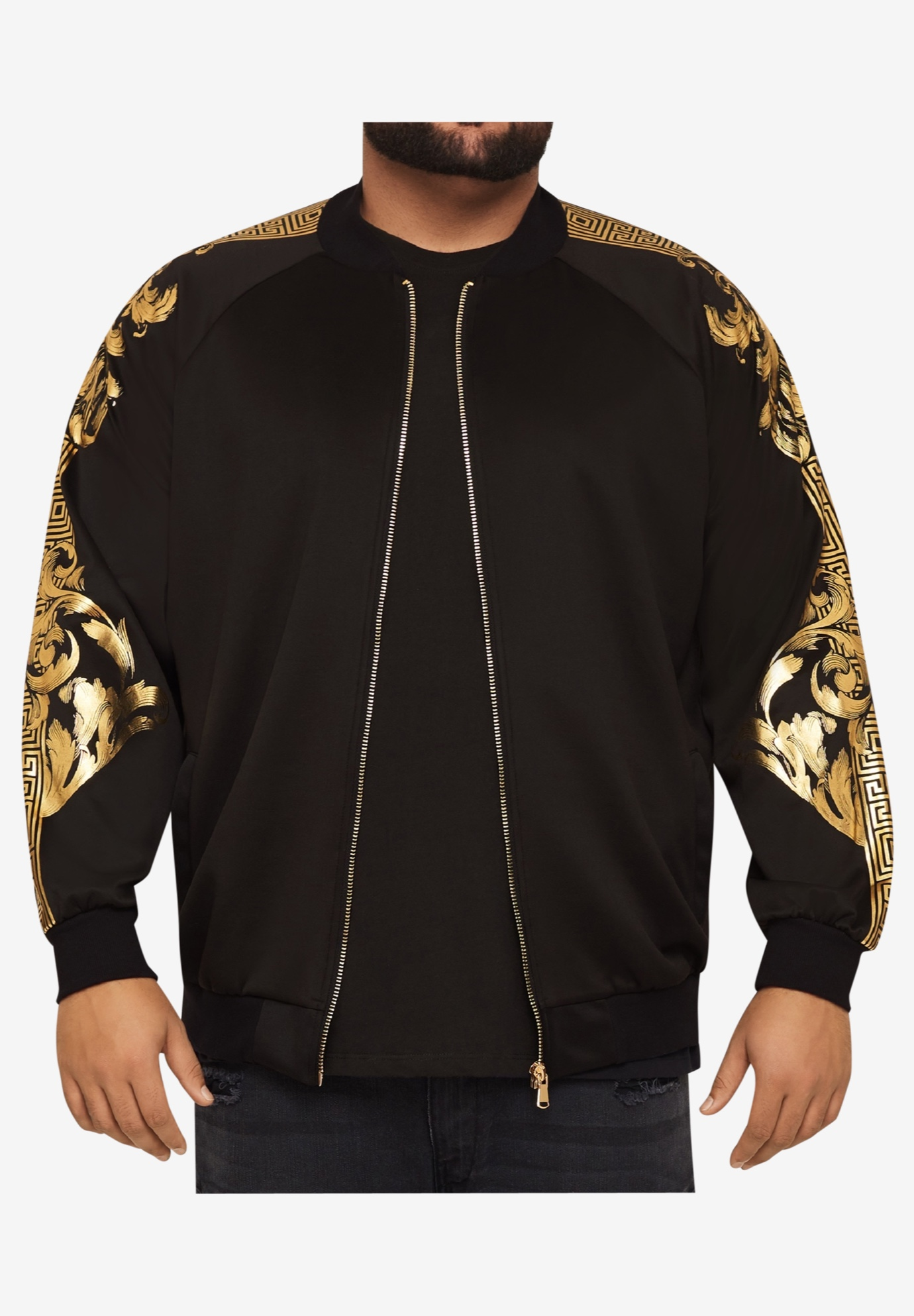 MVP Collections® Gold Print Bomber Jacket,