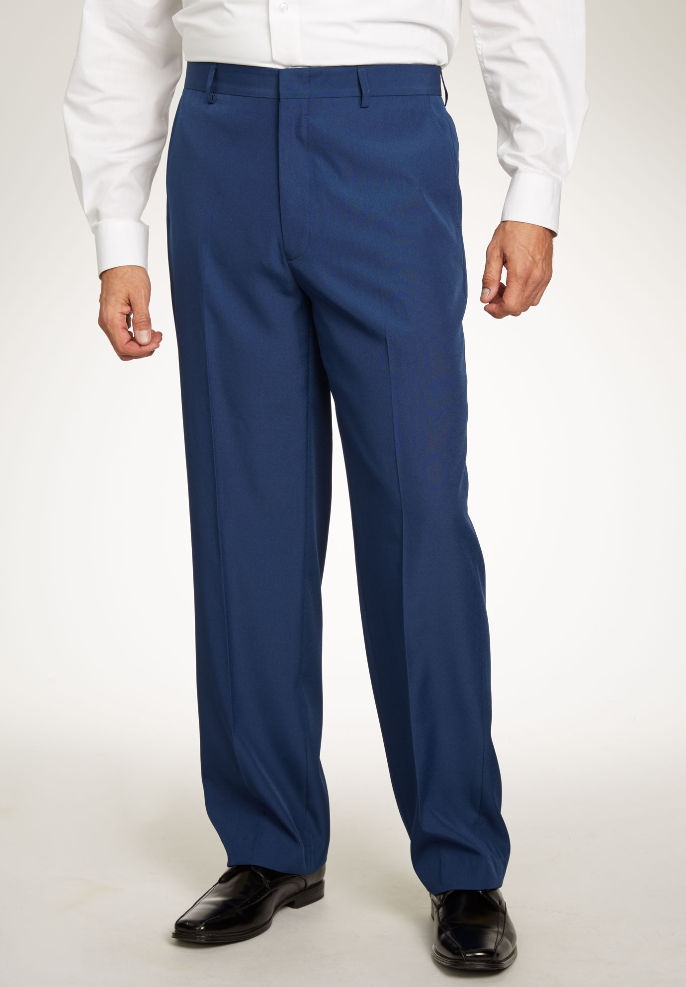 Easy-Care Plain Front Inner Stretch Dress Pants by KS Signature,