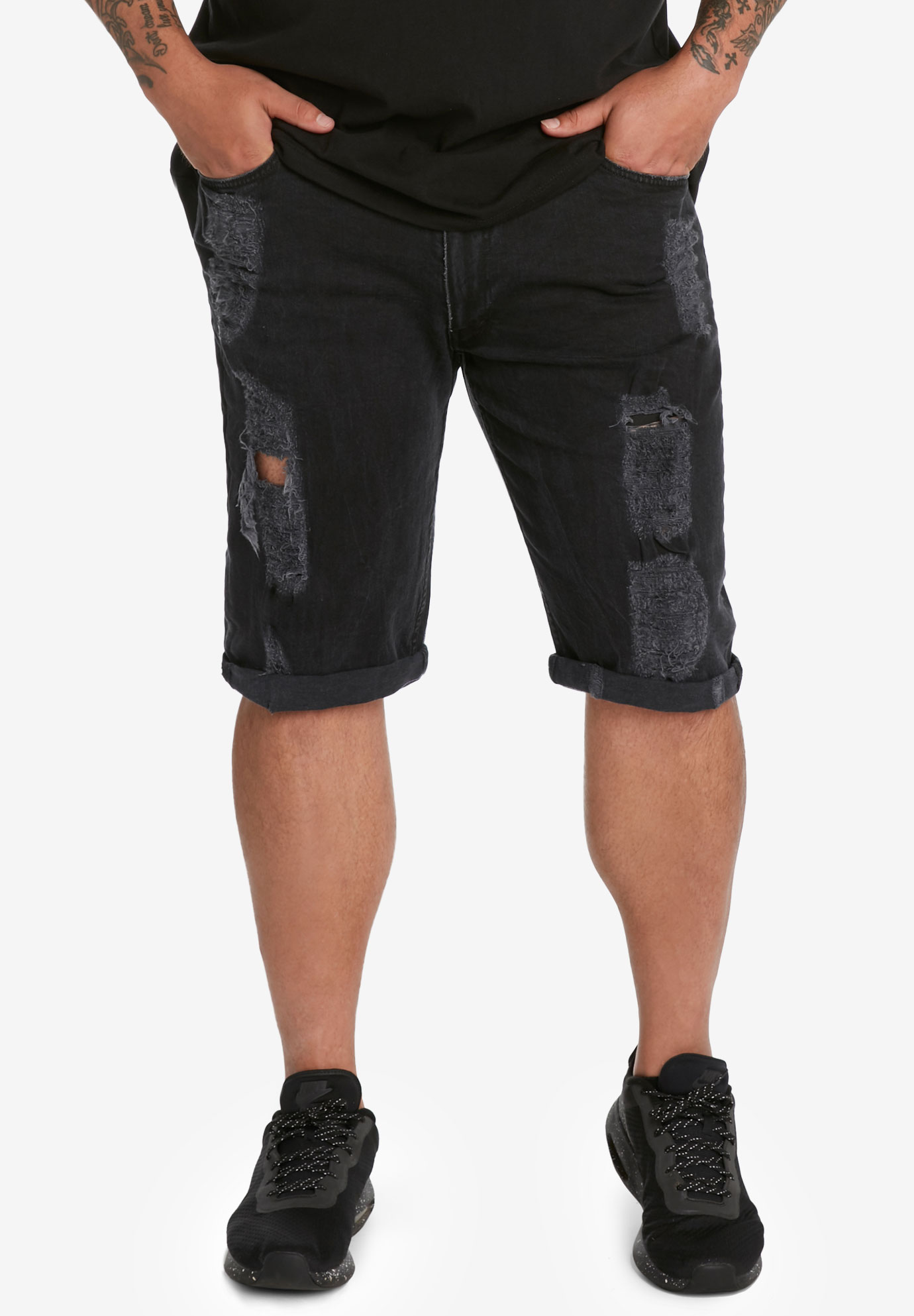 MVP Collections® Distressed Wash Denim Shorts,