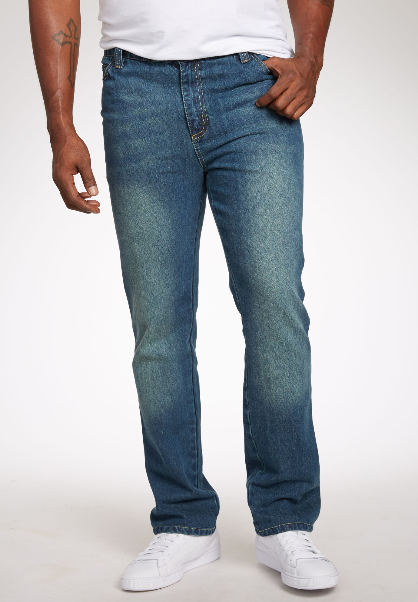 Liberty Blues® Straight Fit Side Elastic 5-Pocket Jeans,