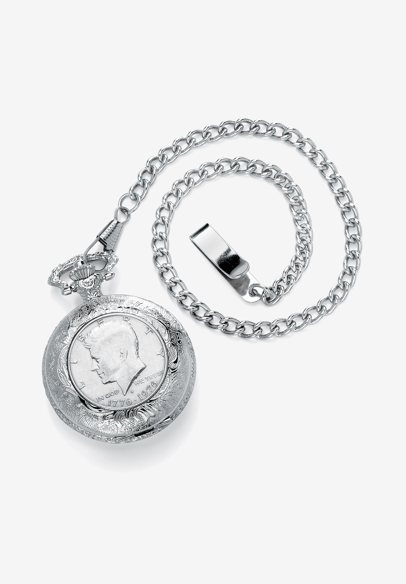 "Silvertone JFK Bicentennial Watch with 13"" Chain, WHITE"