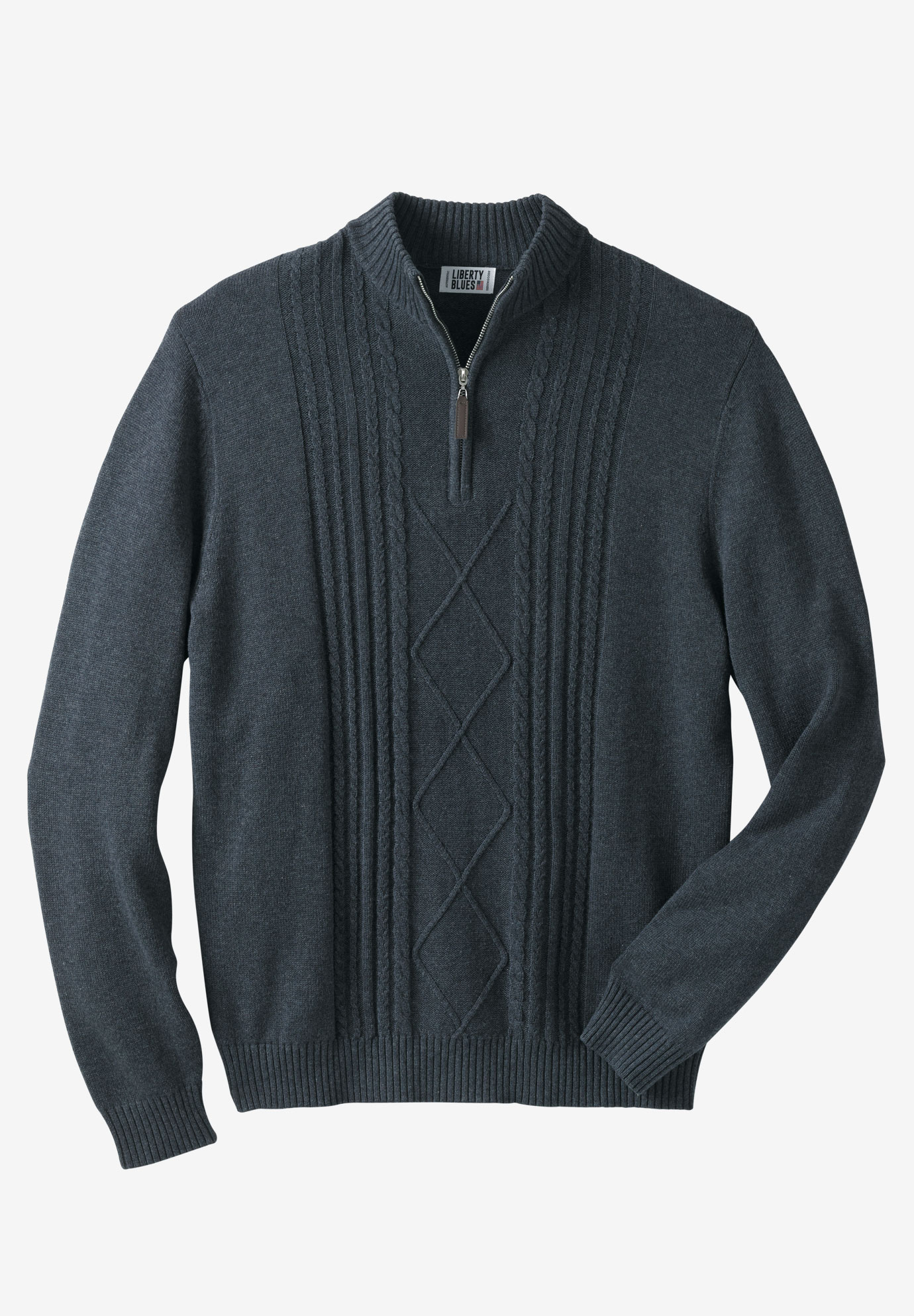 LIBERTY BLUES™ SHOREMAN'S 1/4 ZIP CABLE KNIT SWEATER,