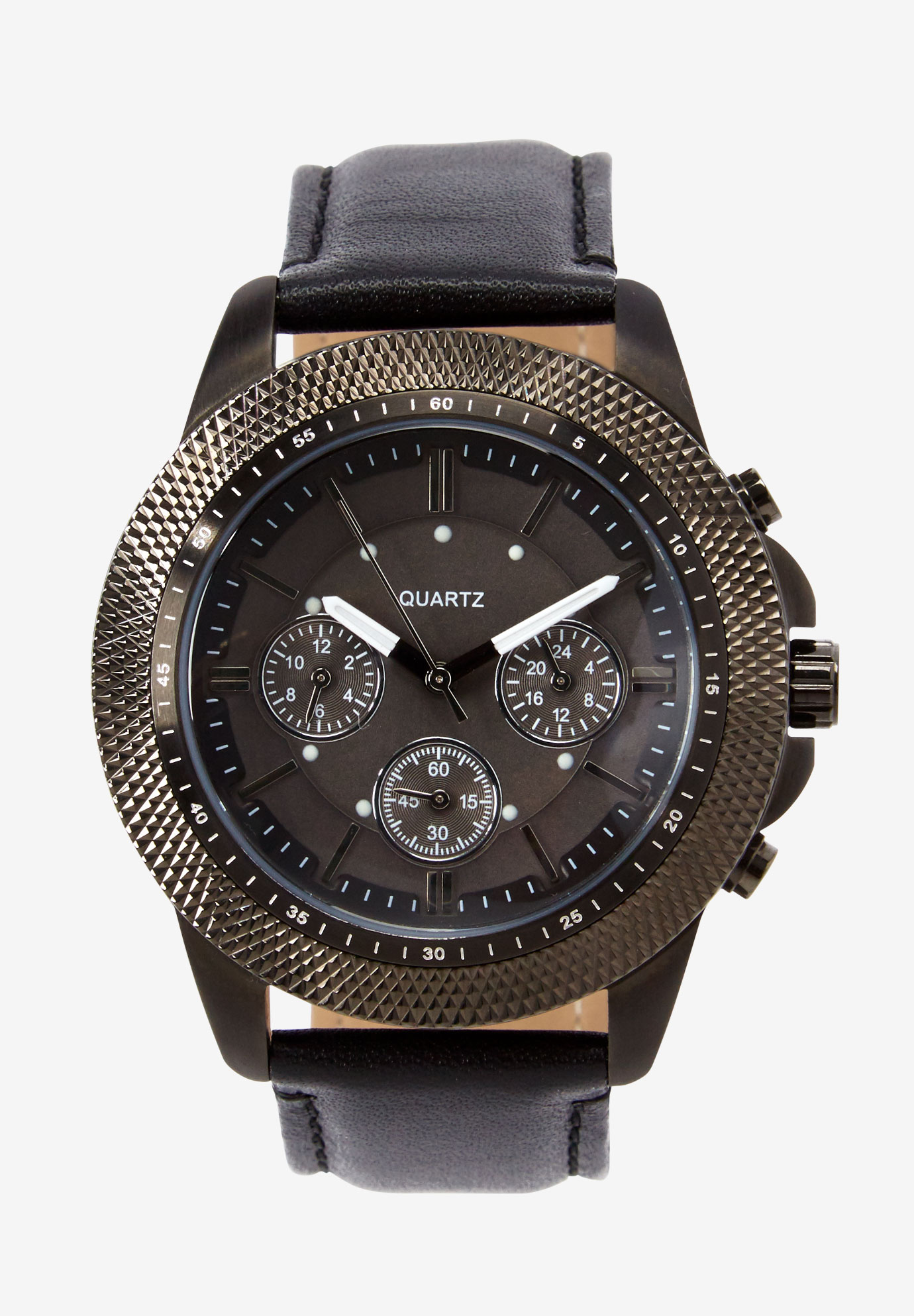 Leather Strap Watch, GUNMETAL