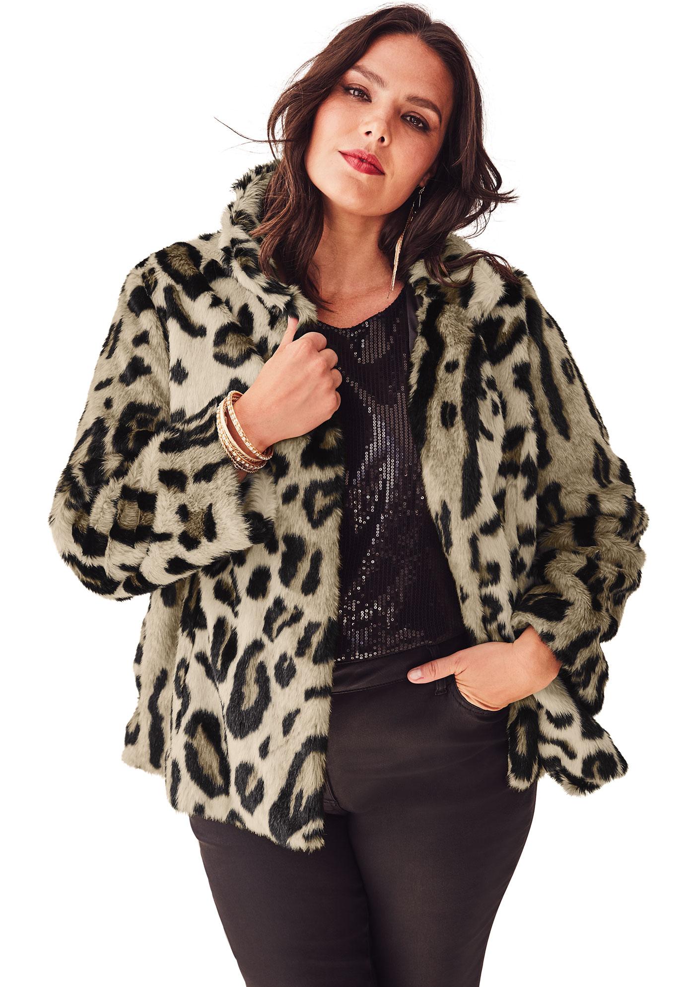 1cb72d29fc17 Short Leopard Faux-Fur Coat by Donna Salyers Fabulous Furs| Plus ...