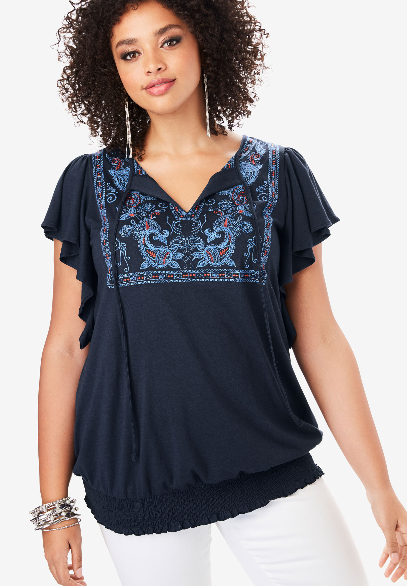 Embroidered Flutter-Sleeve Tee,