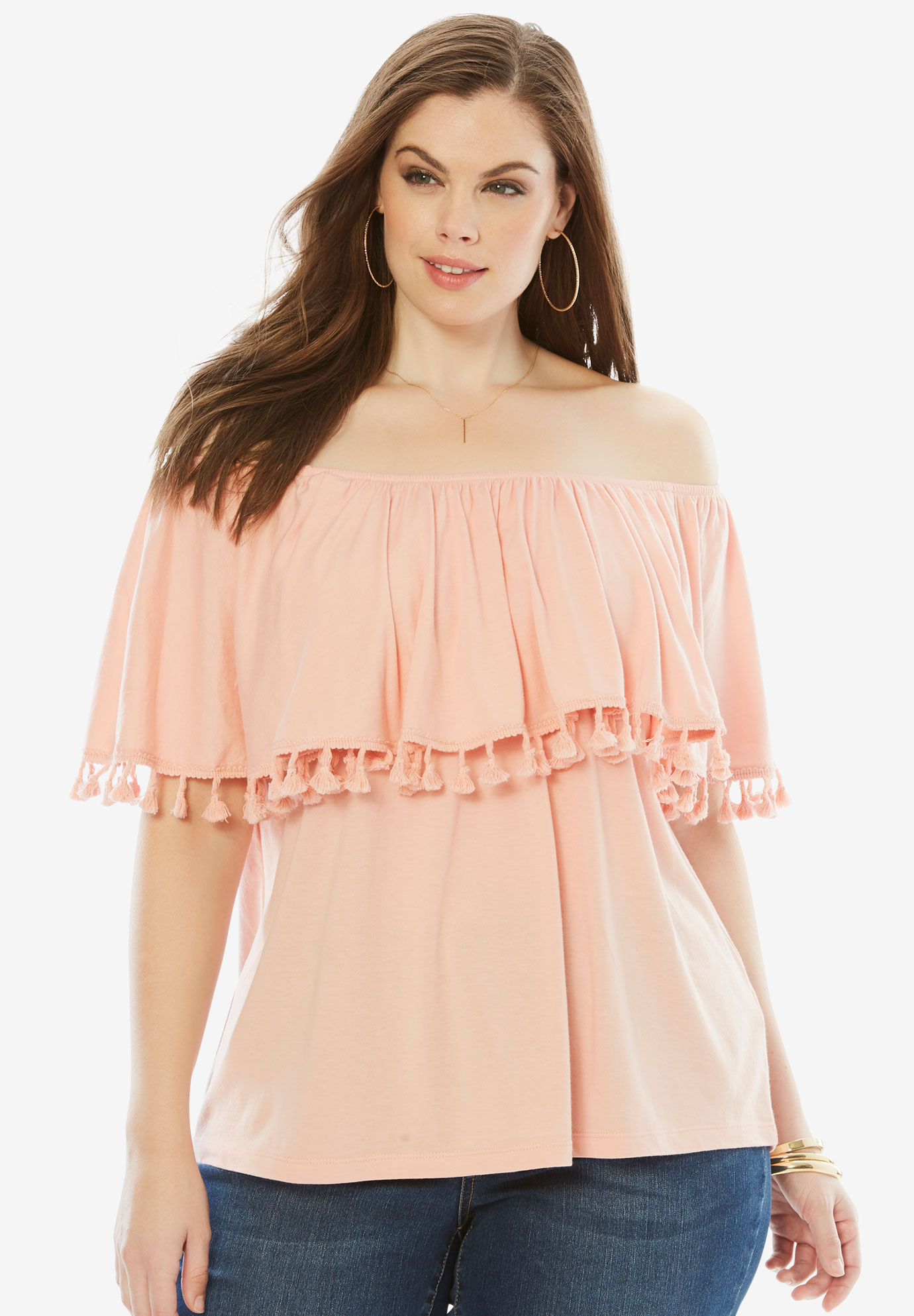 Off-The-Shoulder Fringe Top,