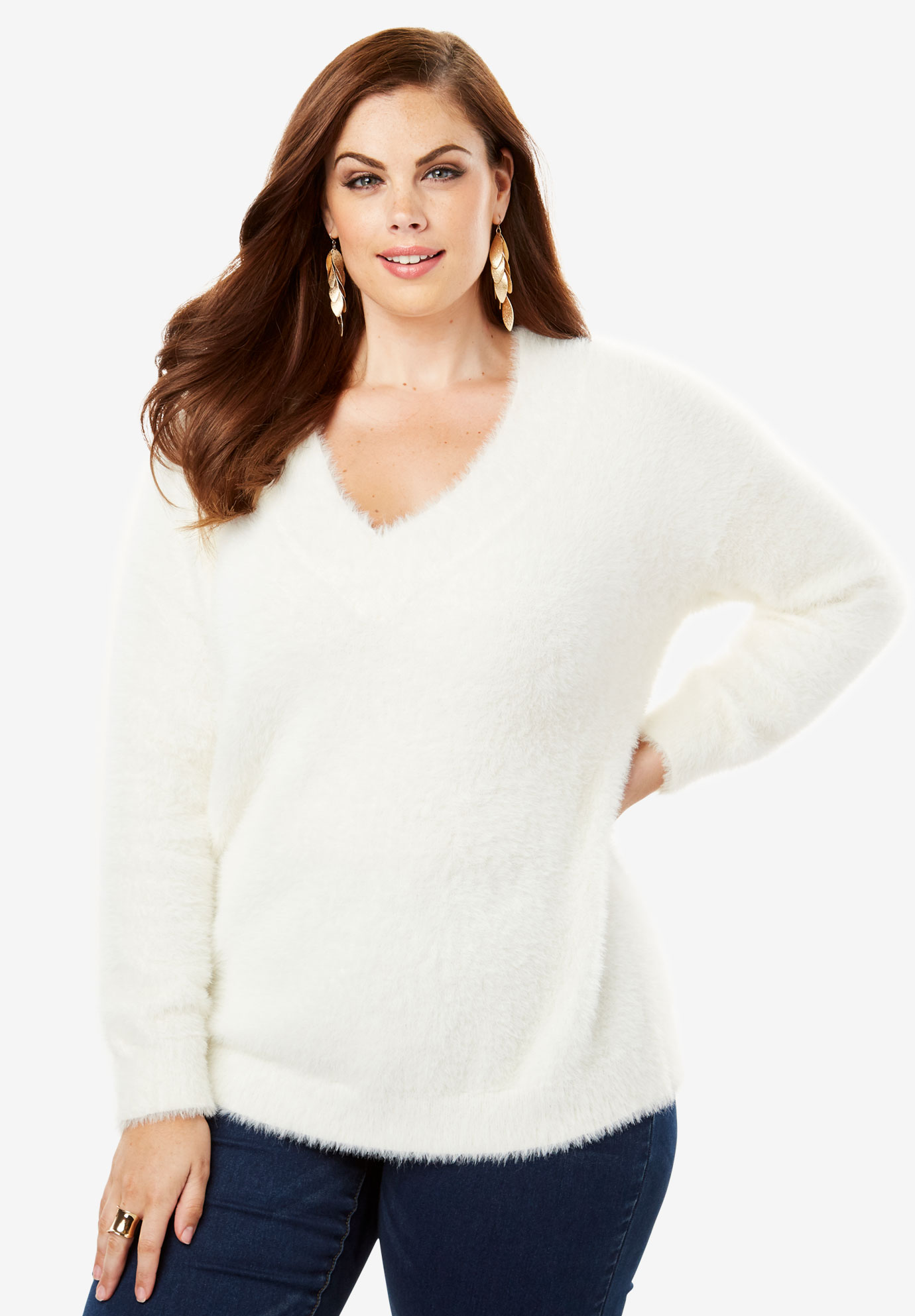 ee02f8d66f607 Textured V-neck Sweater with Blouson Sleeves