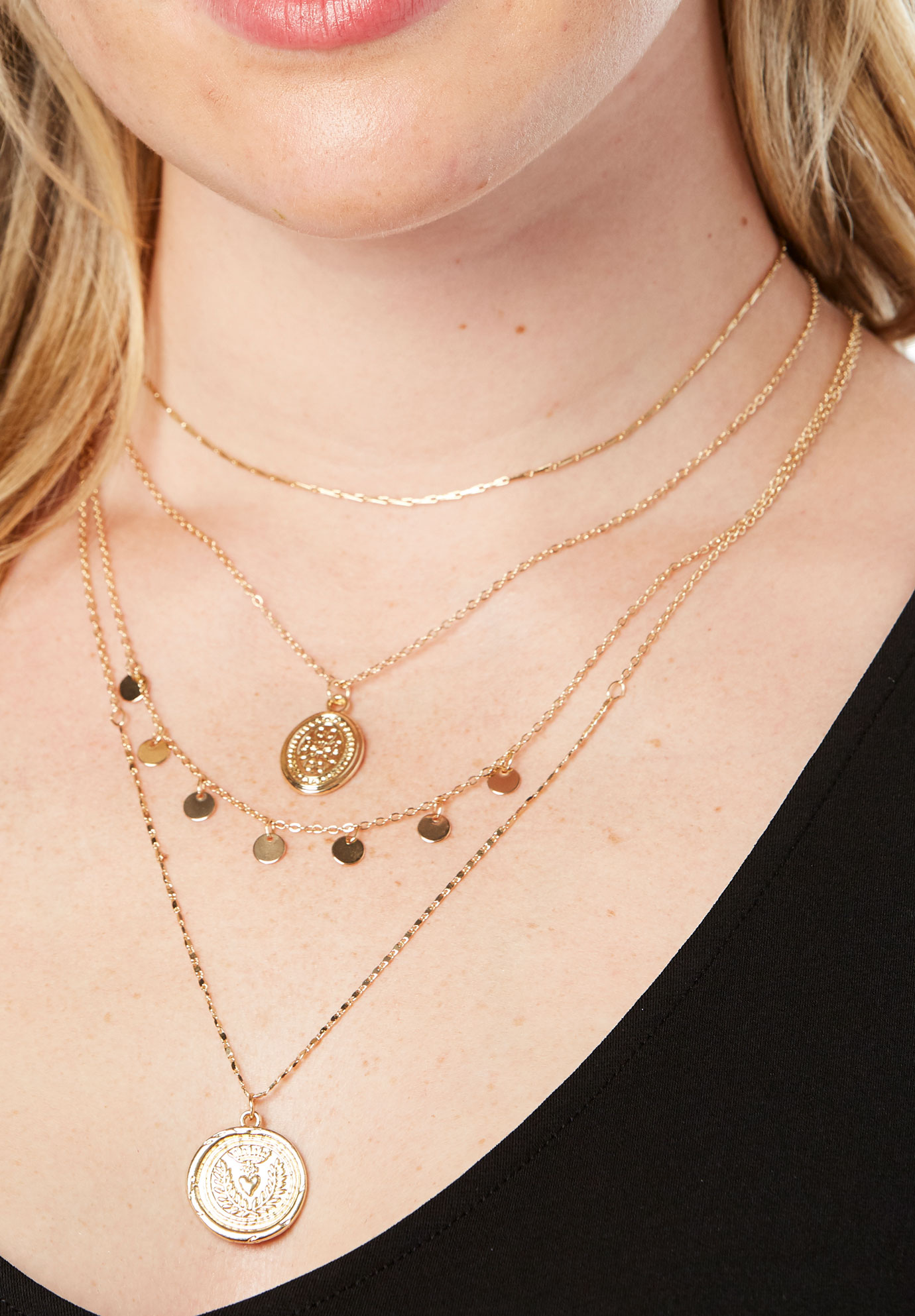 Gold Layered Necklace, GOLD