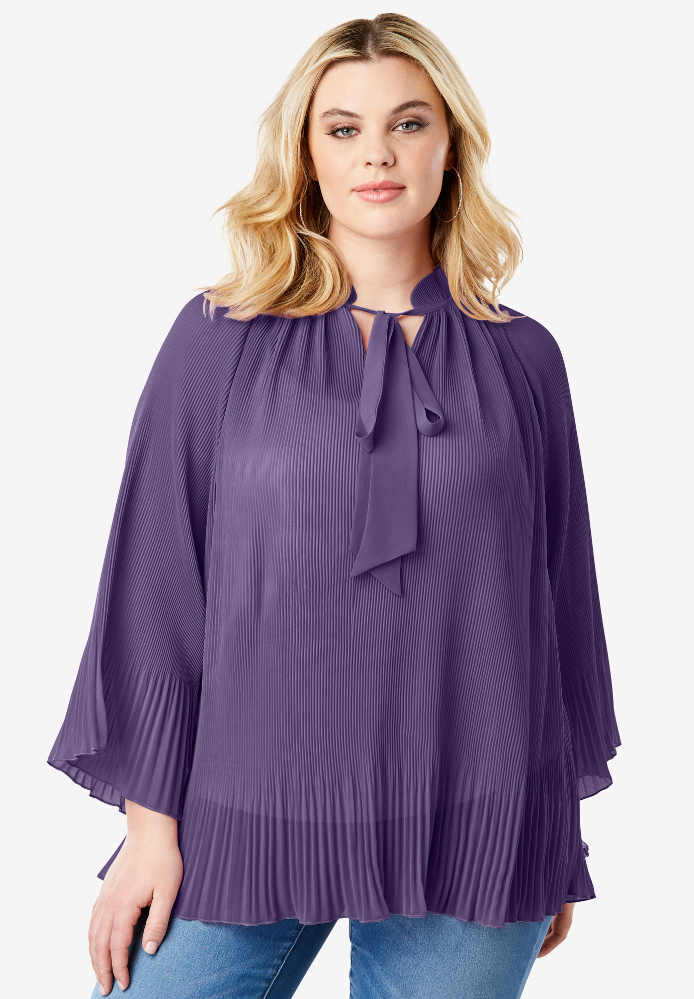 Bell Sleeve Bow Blouse,