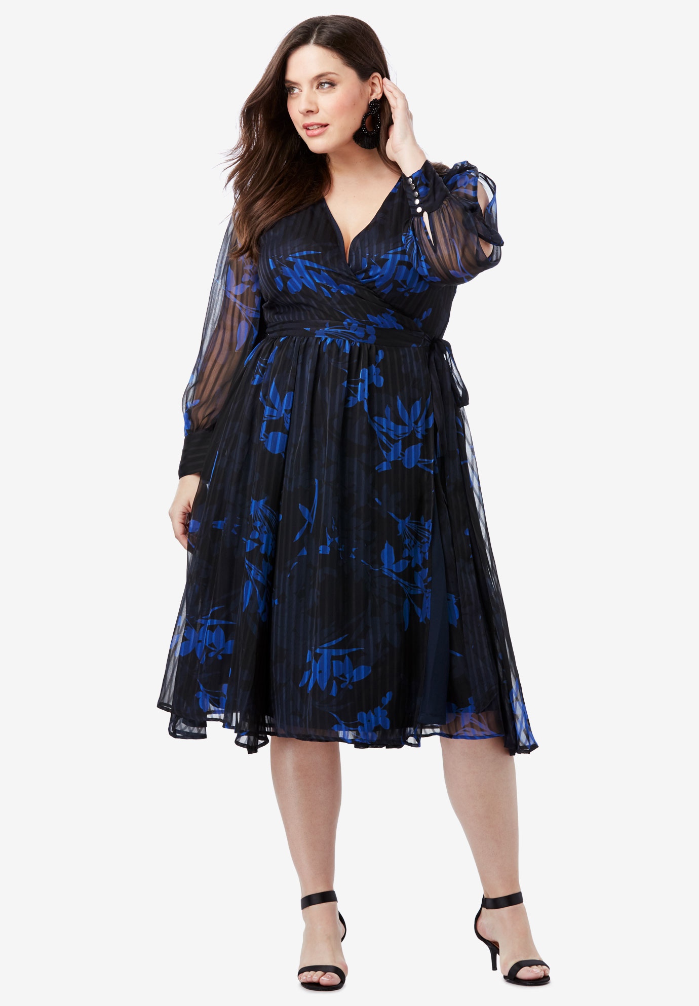 835b4a78a8b05 Burnout Wrap Dress with Blouson Sleeves| Plus Size Work Dresses ...