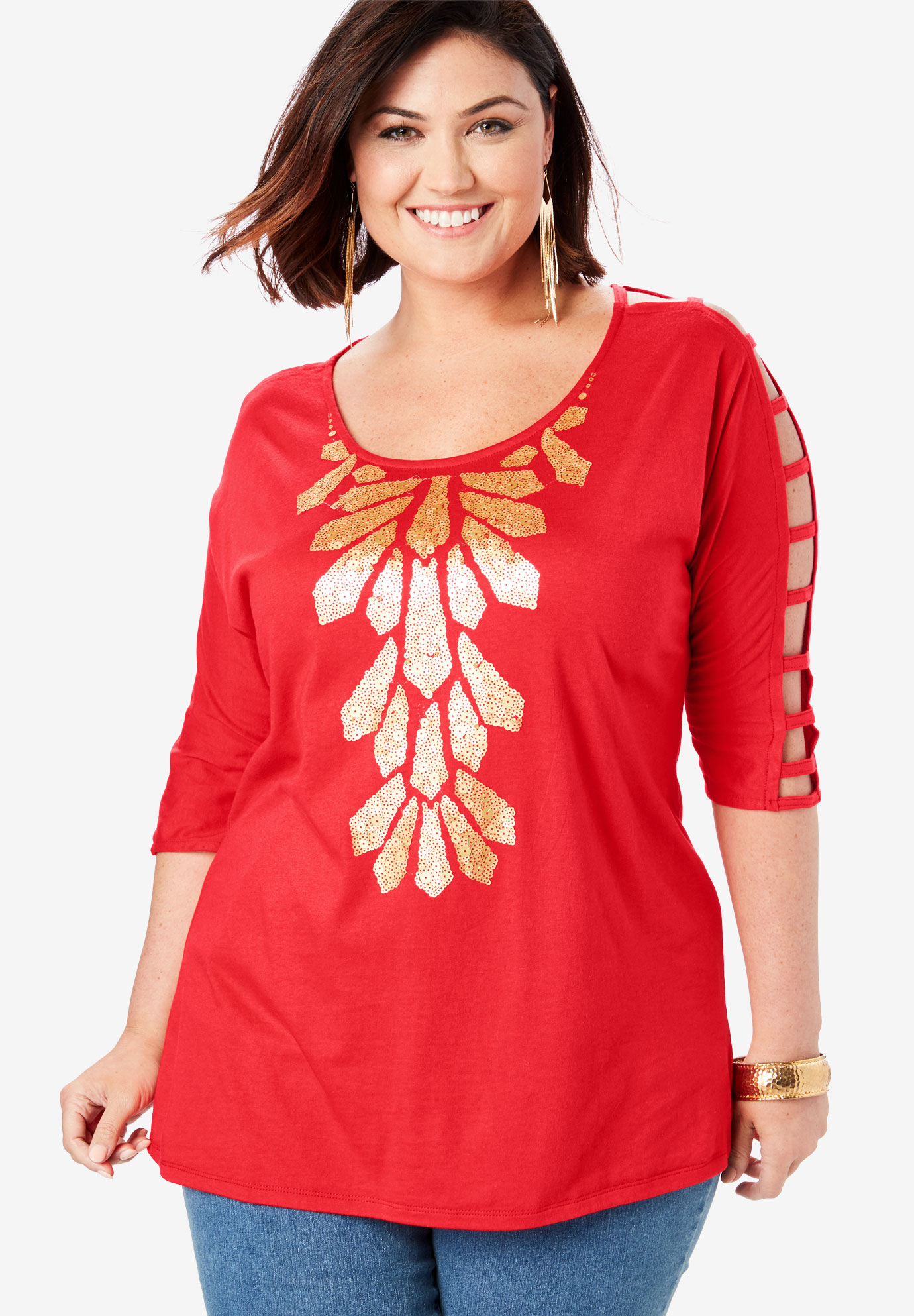 Embellished Lattice Sleeve Top,