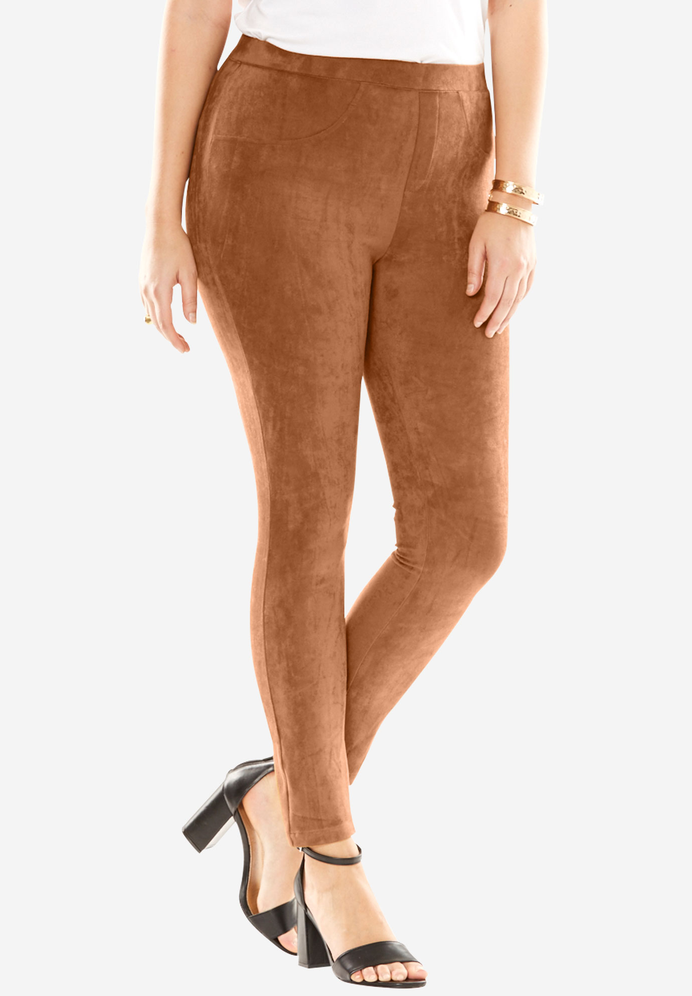 Faux Suede Leggings, CAMEL