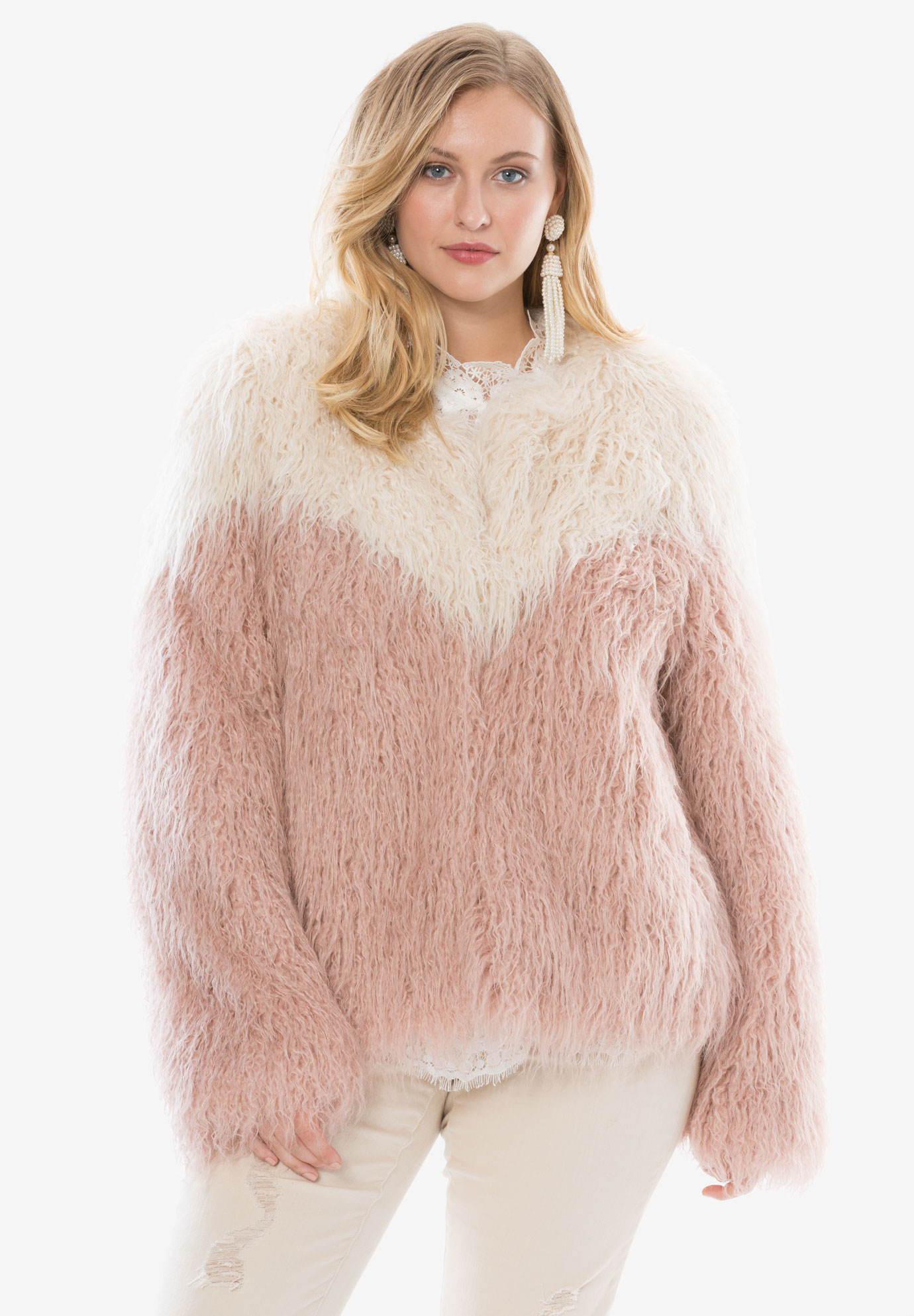 2619a7c805a76 Two-Tone Faux Mongolian Fur Jacket by Donna Saylers Fabulous-Furs ...