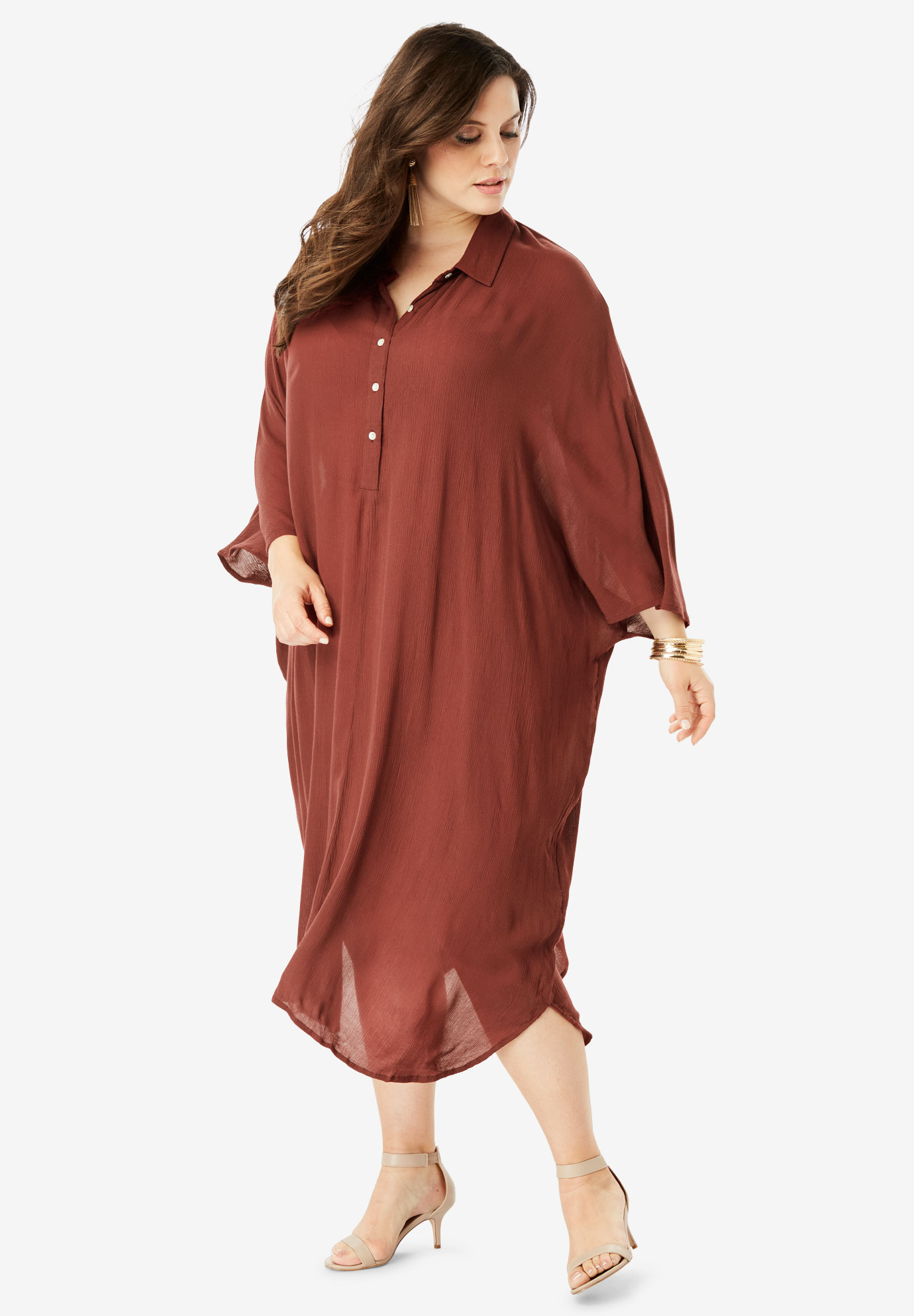 Pullover Crinkle Shirtdress with Dolman Sleeves,