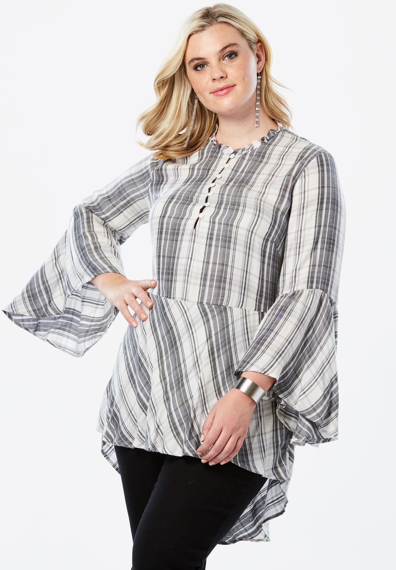 Ruffle Plaid Tunic with Bell Sleeves,