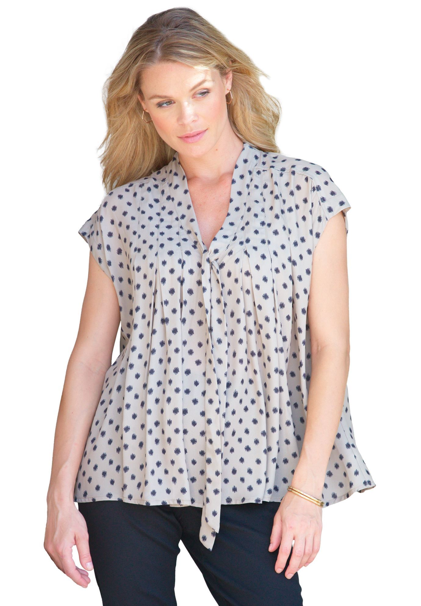 Evie Print V-Neck Top,